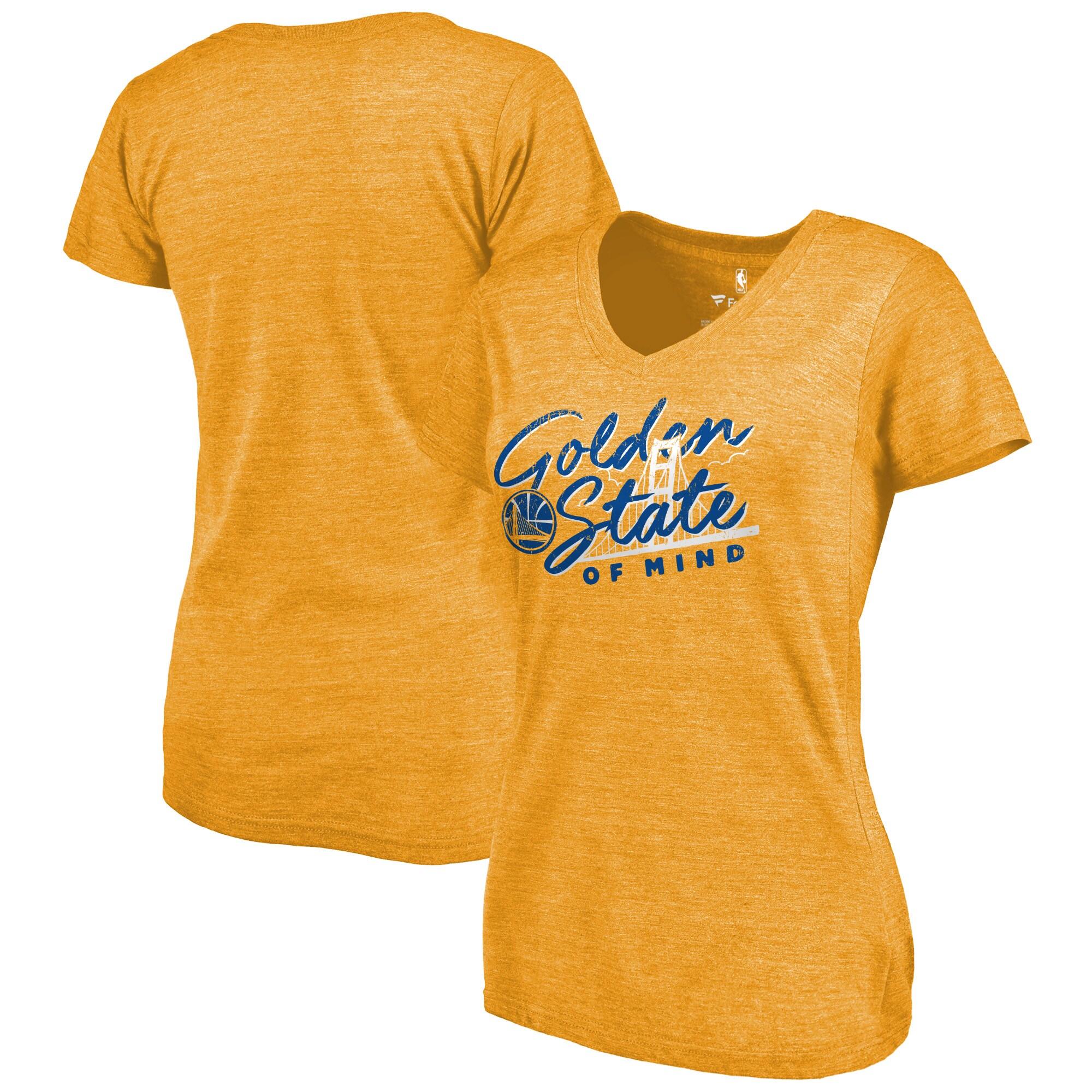 Golden State Warriors Fanatics Branded Women's Hometown Collection Mindset Tri-Blend T-Shirt - Gold