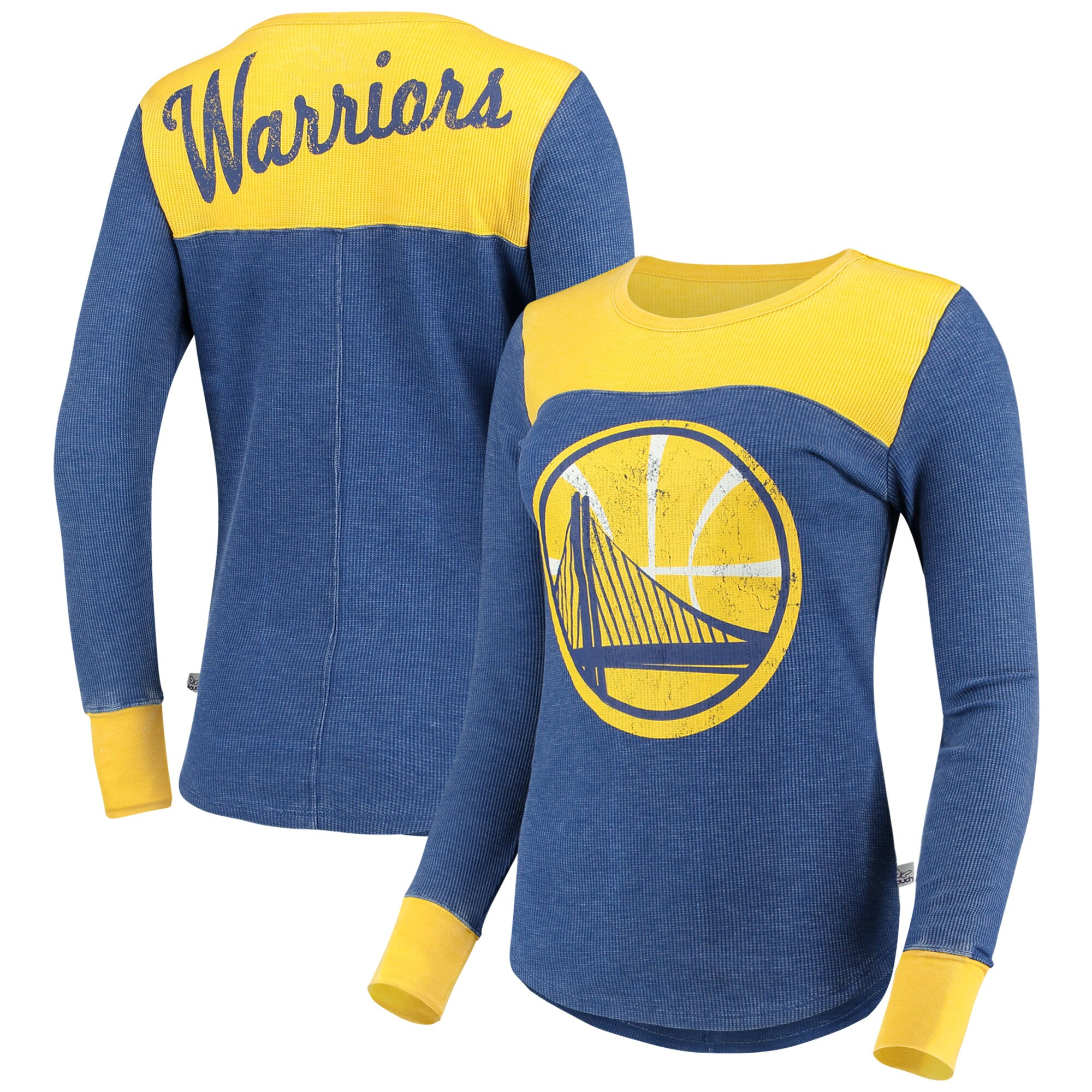 Golden State Warriors G-III Sports by Carl Banks Women's Blindside Long Sleeve Thermal T-Shirt - Royal/Gold