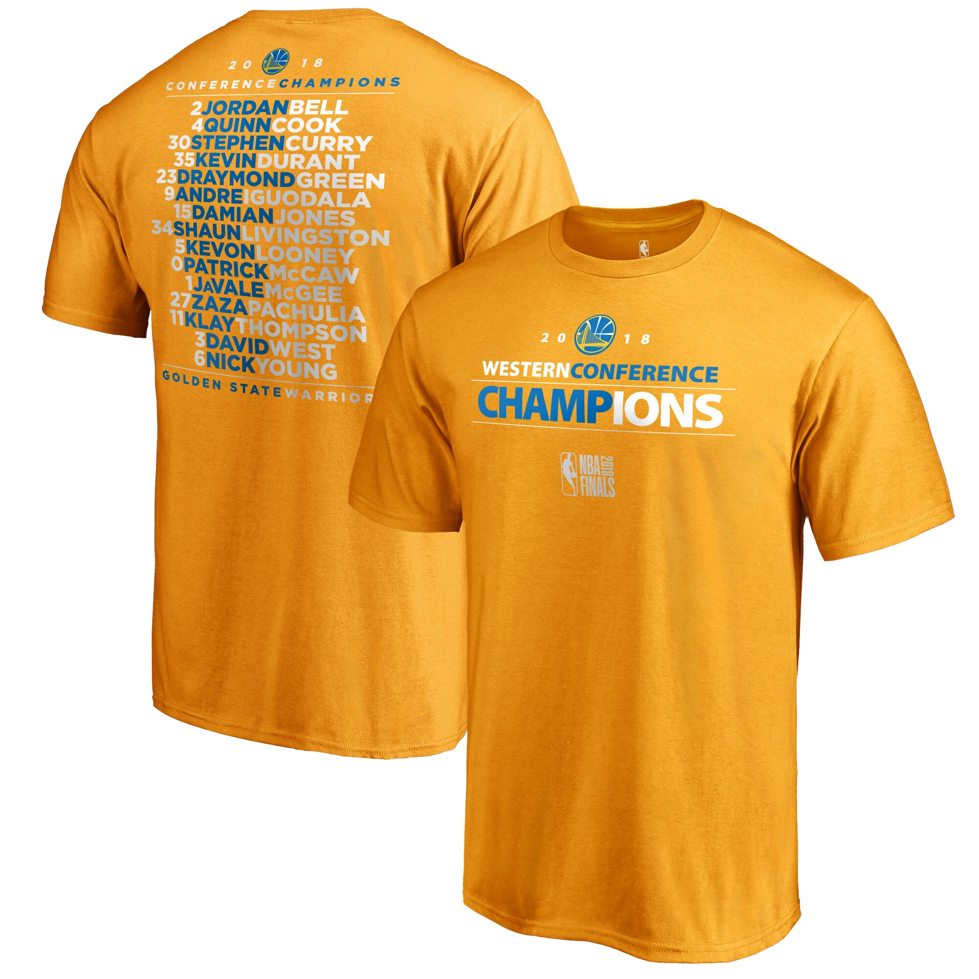 Golden State Warriors Fanatics Branded 2018 Western Conference Champions Backcourt Roster T-Shirt - Gold