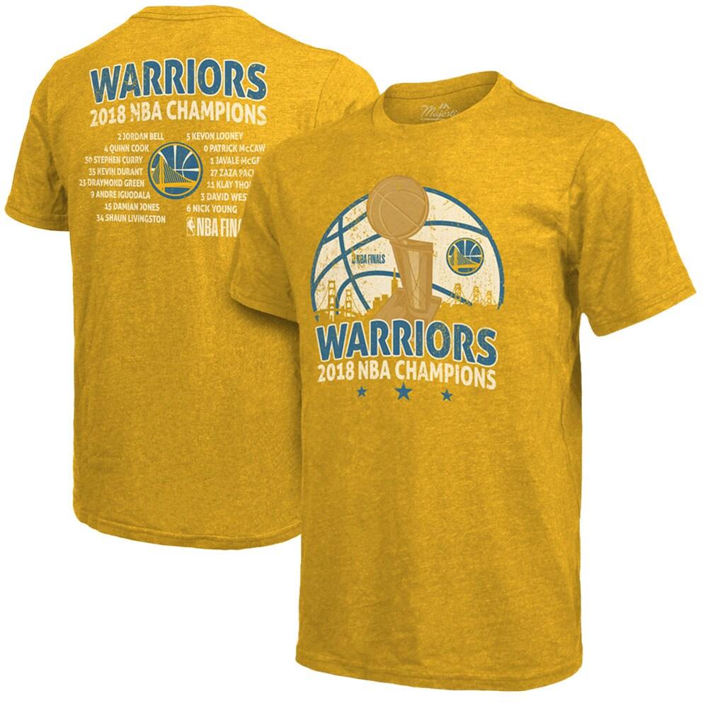 Golden State Warriors Majestic Threads 2018 NBA Finals Champions Team Roster Tri-Blend T-Shirt - Gold