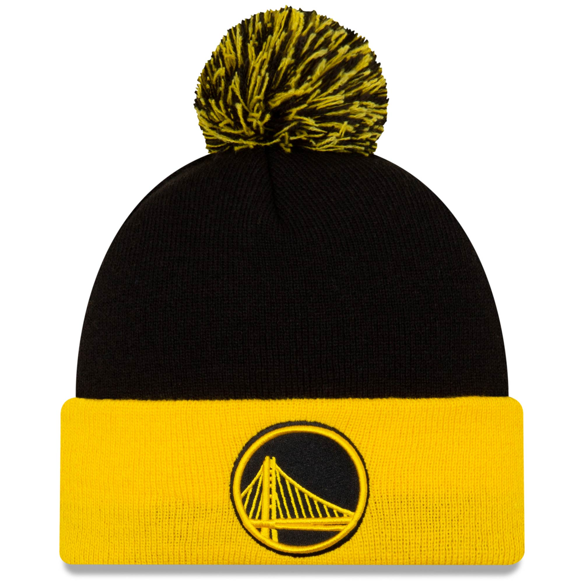 Golden State Warriors New Era Cuffed Knit Hat with Pom - Black/Gold