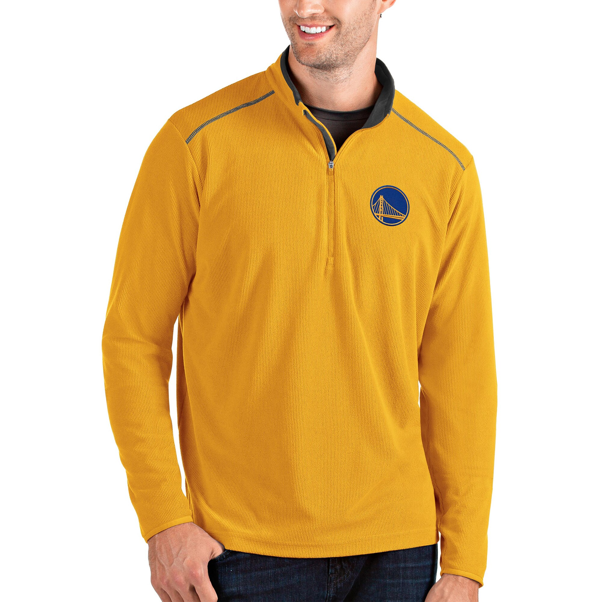 Golden State Warriors Antigua Glacier Quarter-Zip Pullover Jacket - Gold/Gray