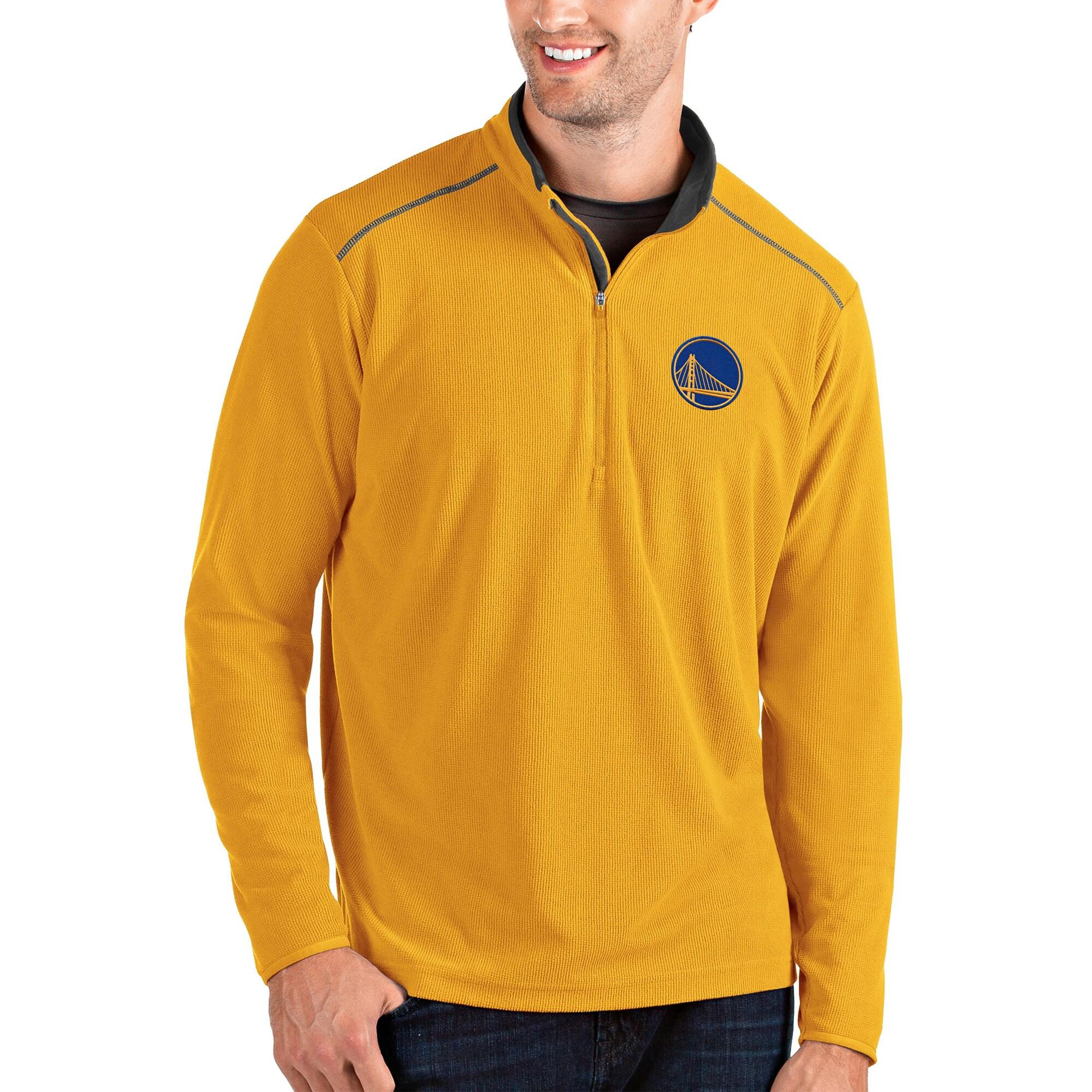 Golden State Warriors Antigua Glacier Quarter-Zip Pullover Jacket - Gold/Gray