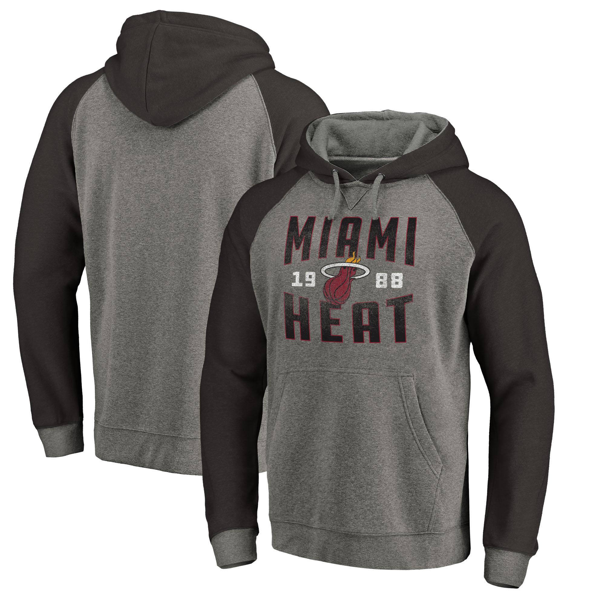Miami Heat Fanatics Branded Ash Antique Stack Tri-Blend Raglan Pullover Hoodie