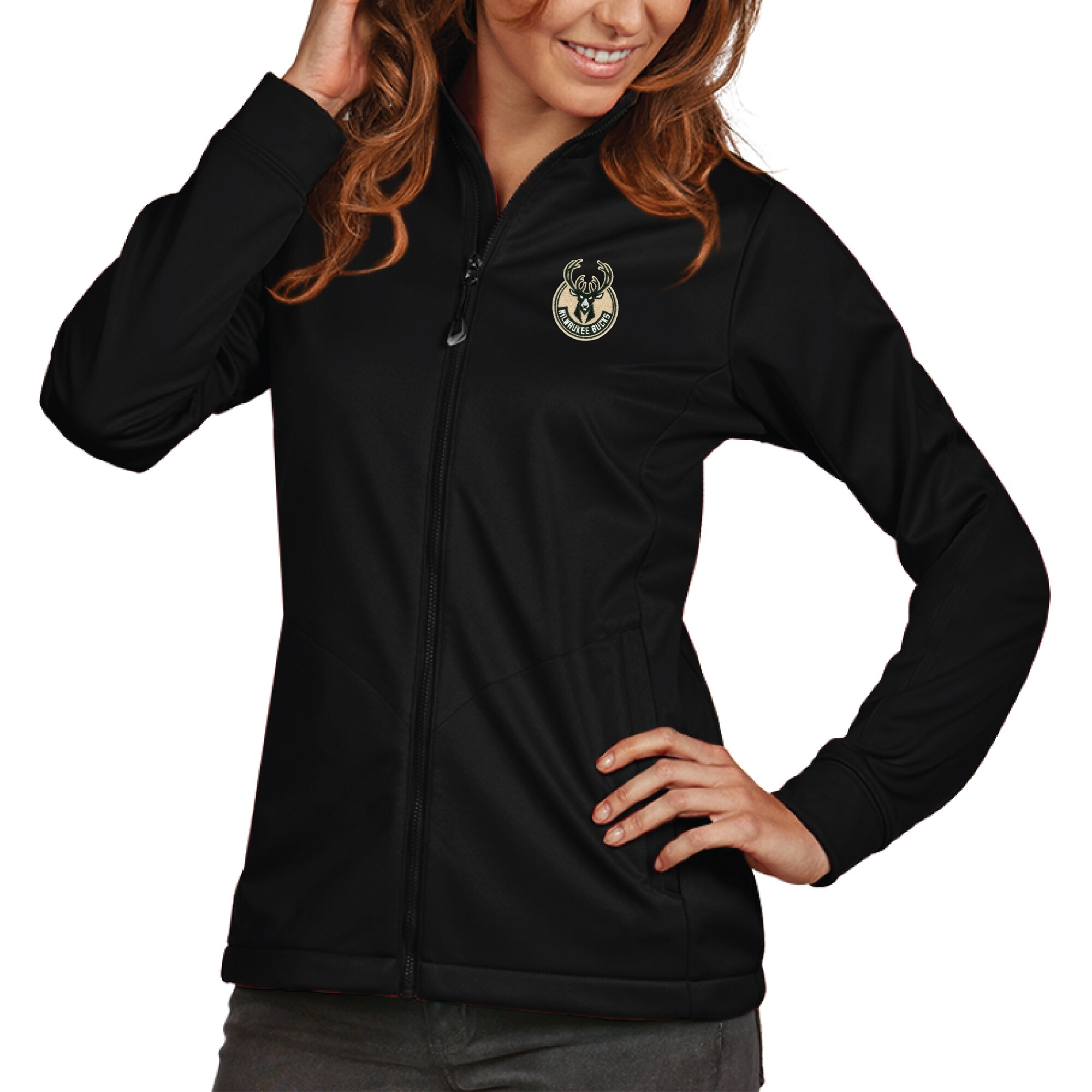 Milwaukee Bucks Antigua Women's Golf Full-Zip Jacket - Black