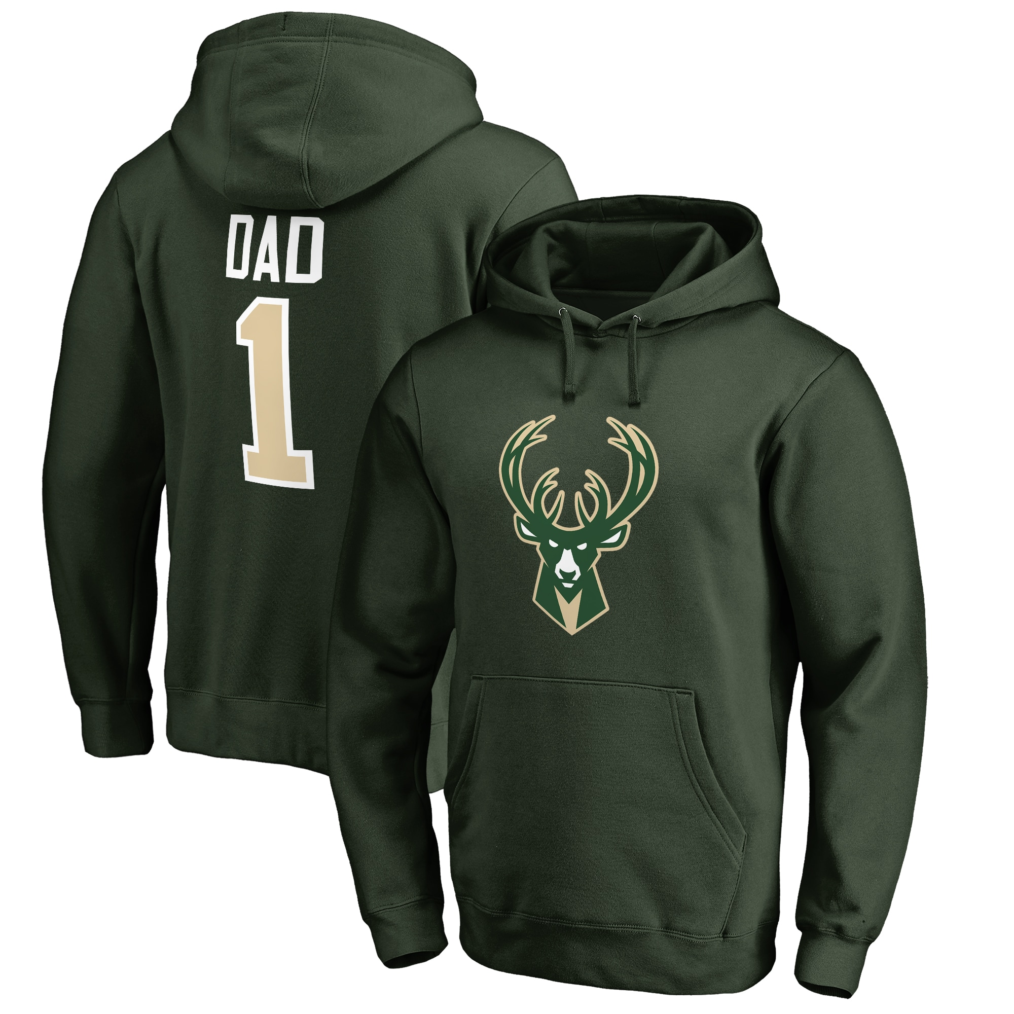 Milwaukee Bucks #1 Dad Pullover Hoodie - Green