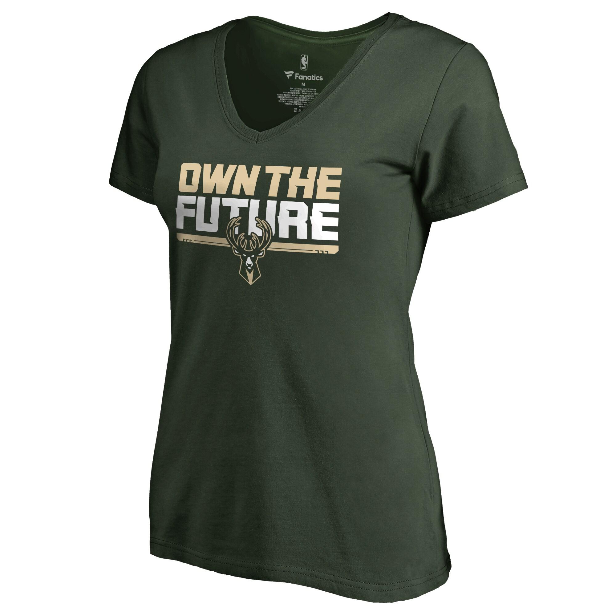 Milwaukee Bucks Women's #Ownthefuture V-Neck T-Shirt - Green