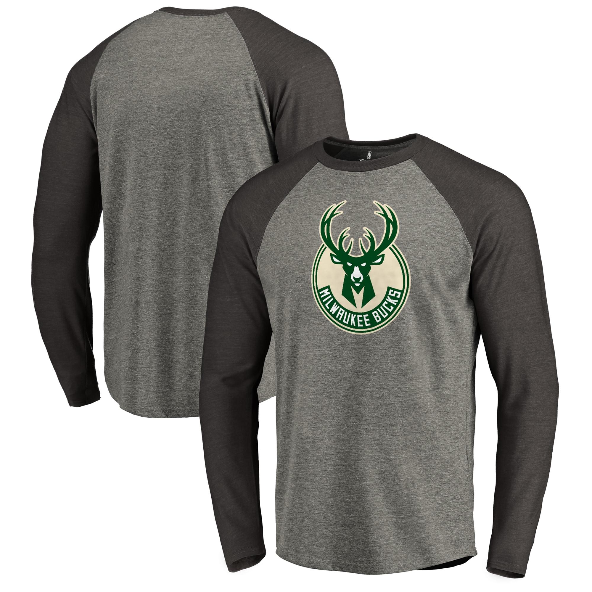 Milwaukee Bucks Fanatics Branded Primary Logo Raglan Long Sleeve T-Shirt - Heathered Gray