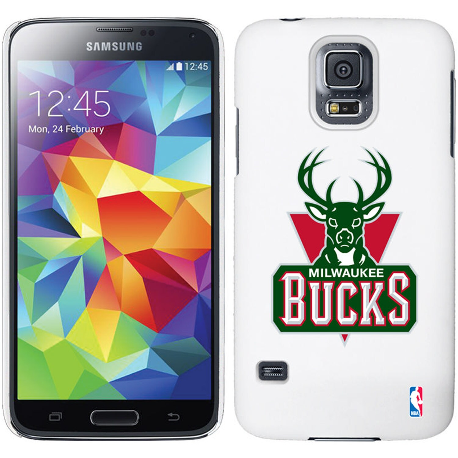 Milwaukee Bucks Galaxy S5 Primary Logo Thinshield Case - White