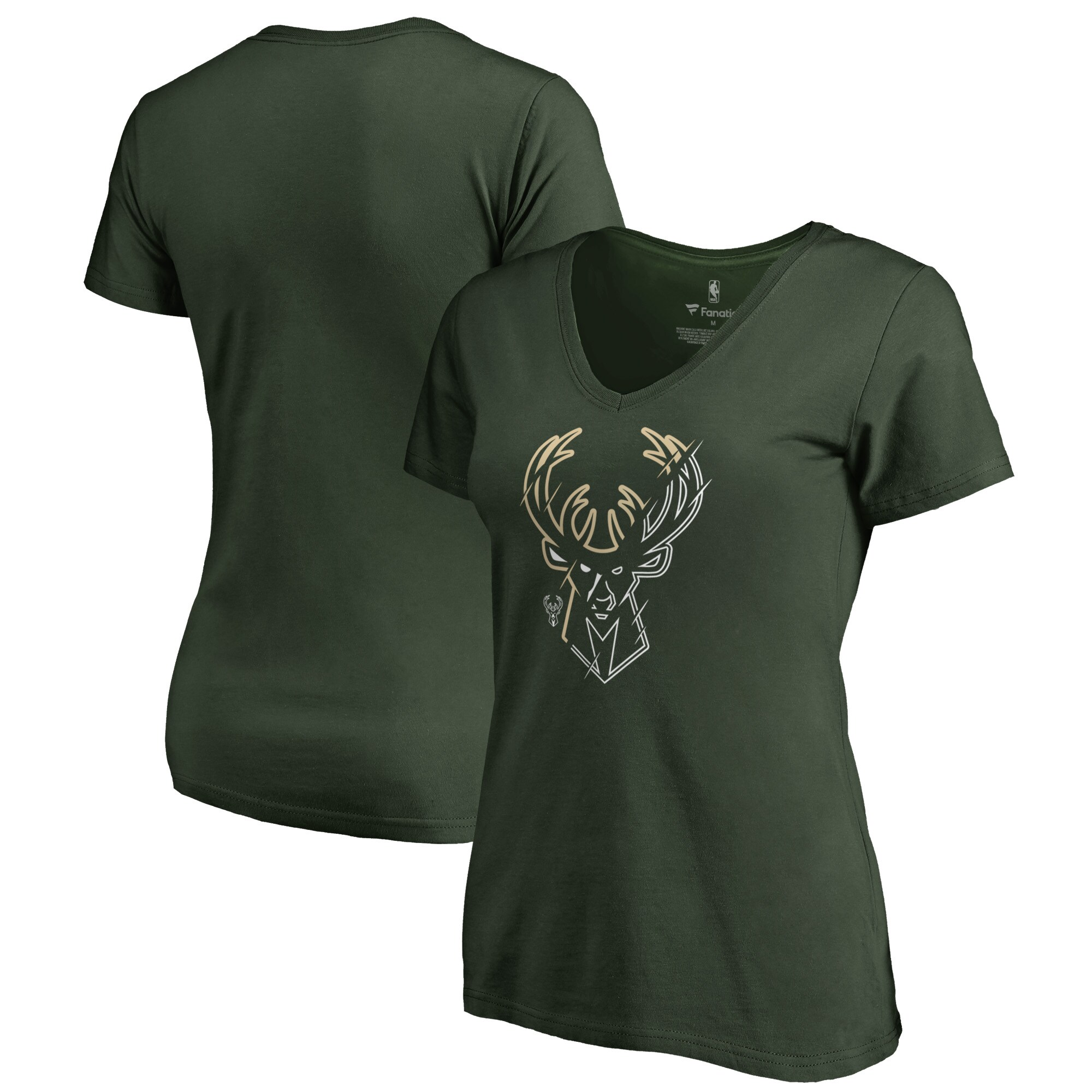 Milwaukee Bucks Fanatics Branded Women's X-Ray Slim Fit V-Neck T-Shirt - Green