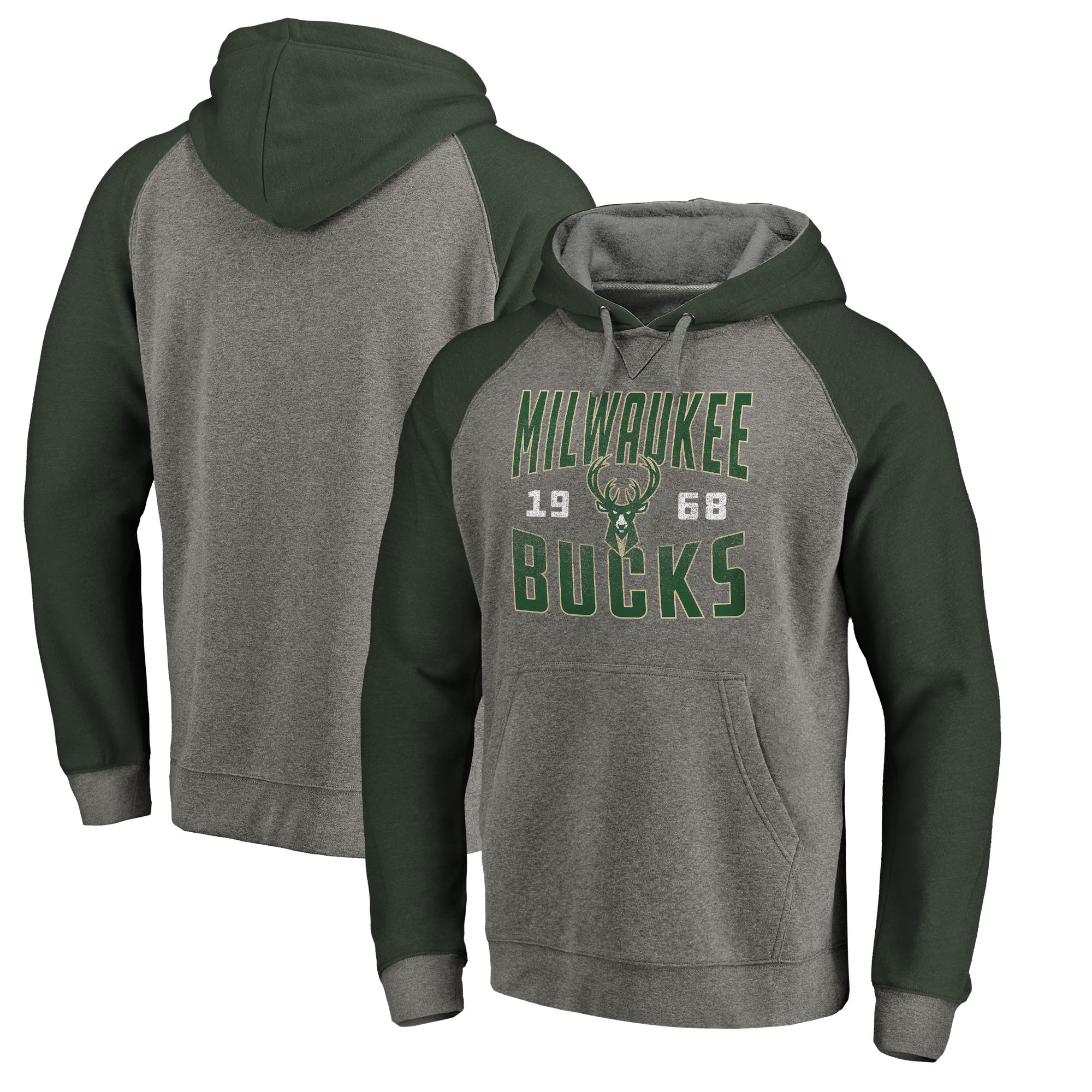 Milwaukee Bucks Fanatics Branded Ash Antique Stack Tri-Blend Raglan Pullover Hoodie