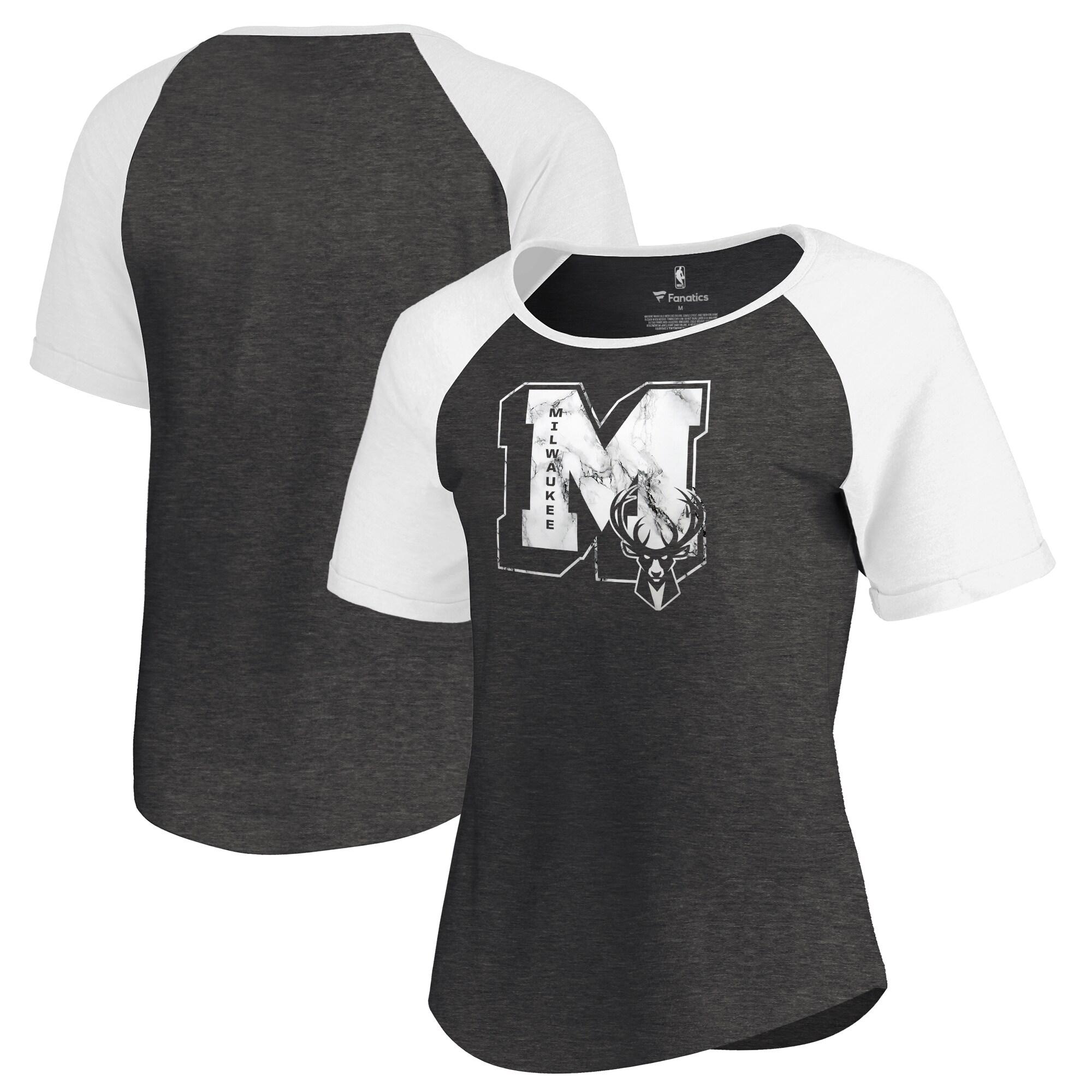 Milwaukee Bucks Fanatics Branded Women's Letterman Tri-Blend Raglan T-Shirt - Black