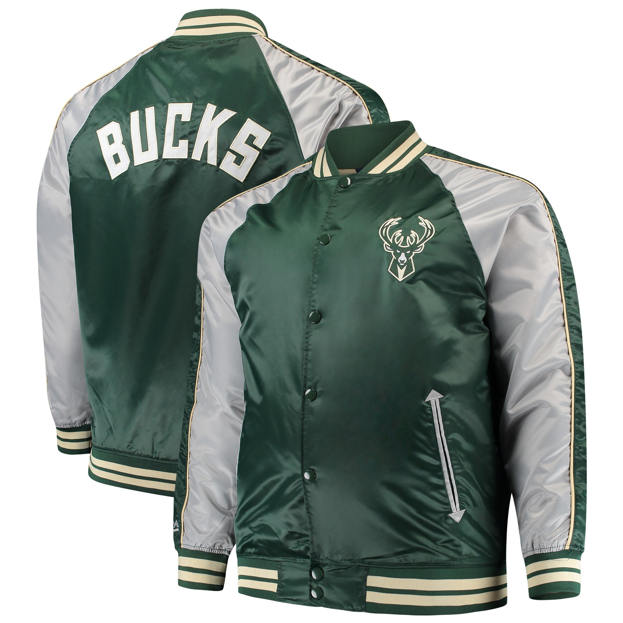 Milwaukee Bucks Majestic Big & Tall Lightweight Satin Full-Snap Jacket - Hunter Green
