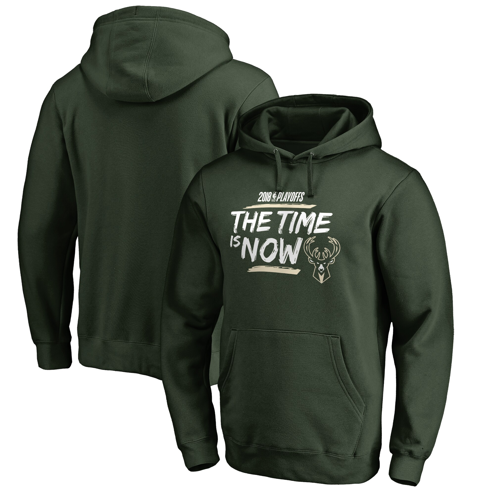 Milwaukee Bucks Fanatics Branded 2018 NBA Playoffs Bet Slogan Pullover Hoodie - Hunter Green