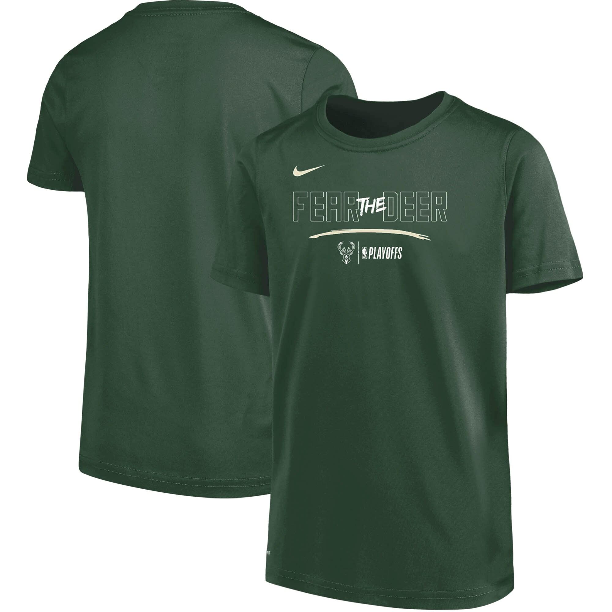 Milwaukee Bucks Nike Youth NBA Playoffs Mantra Performance T-Shirt - Green