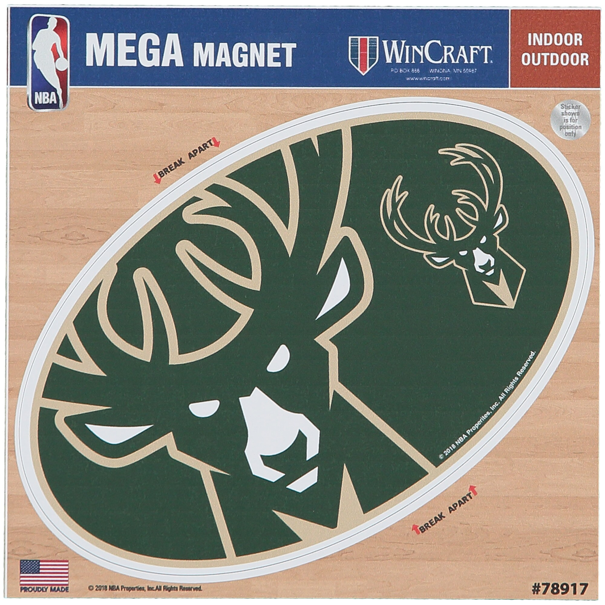 "Milwaukee Bucks 6"" x 6"" Mega Magnet"