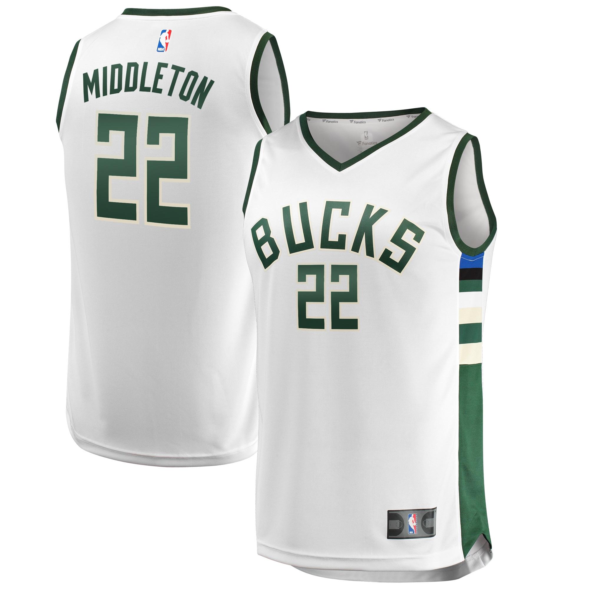 Khris Middleton Milwaukee Bucks Fanatics Branded Fast Break Jersey - Association Edition - White