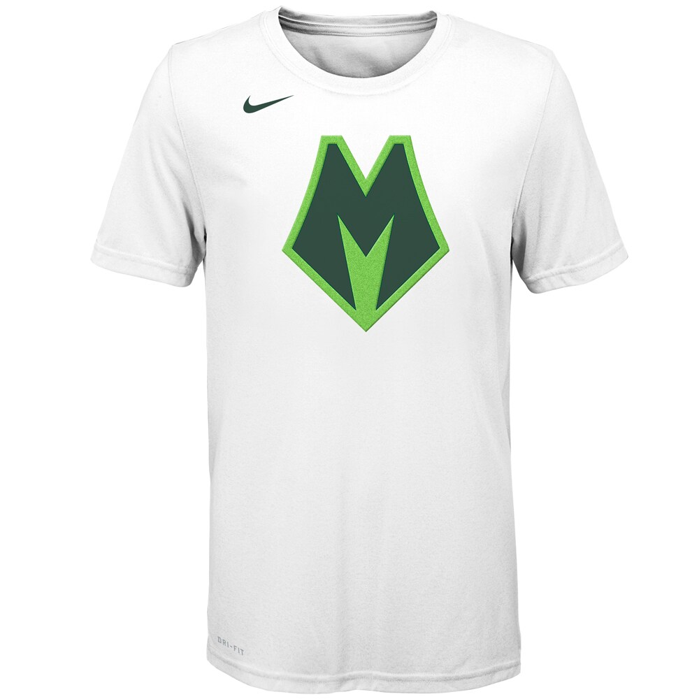 Milwaukee Bucks Nike Youth Earned Edition Logo Essential T-Shirt - White