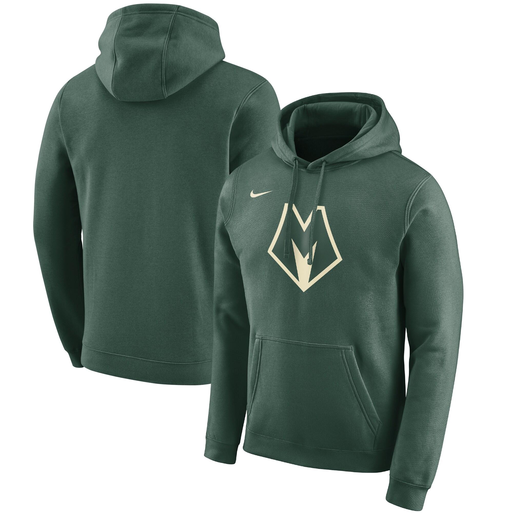 Milwaukee Bucks Nike 2019/20 City Edition Club Pullover Hoodie - Green