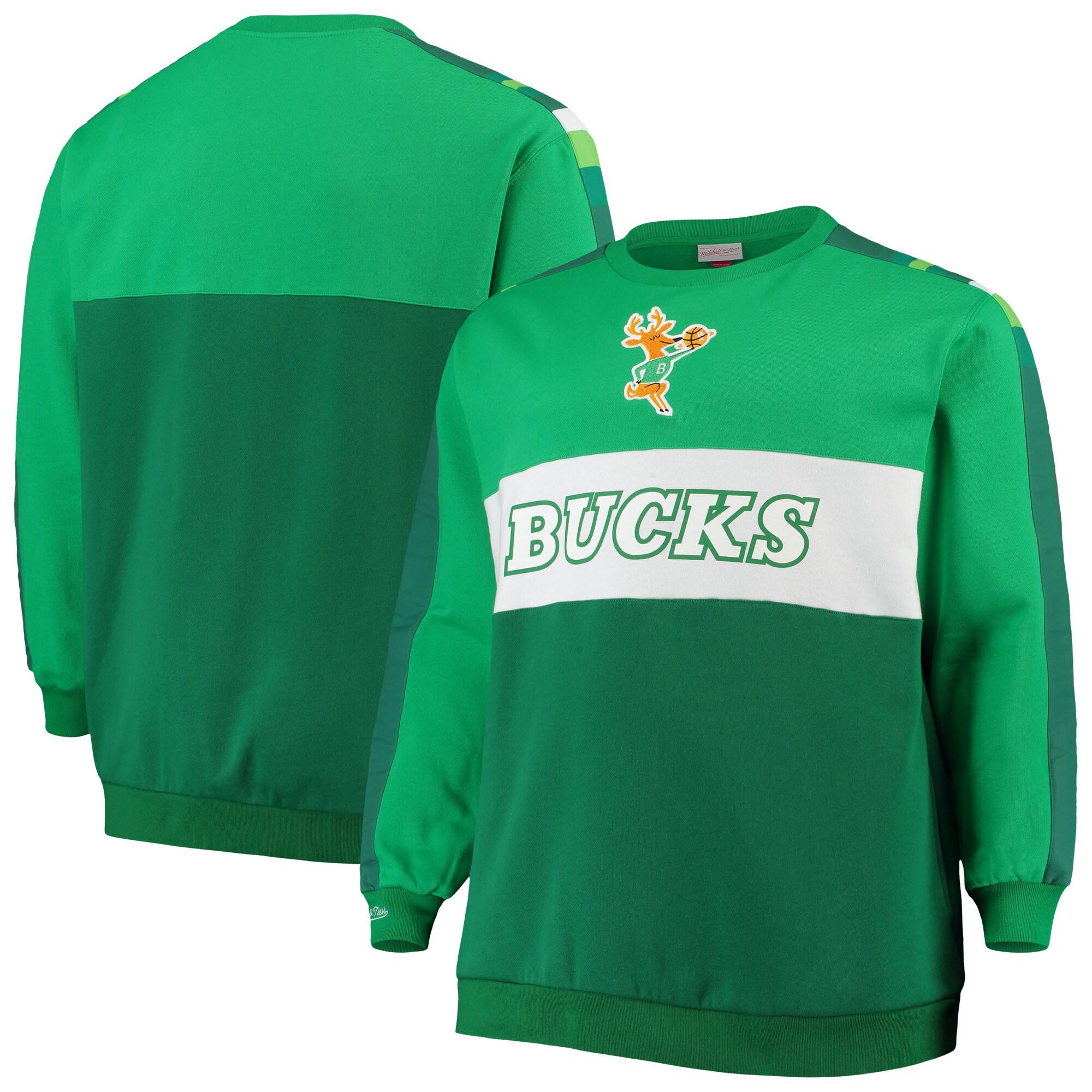 Milwaukee Bucks Mitchell & Ness Hardwood Classics Big & Tall Leading Scorer Fleece Pullover Sweatshirt - Hunter Green