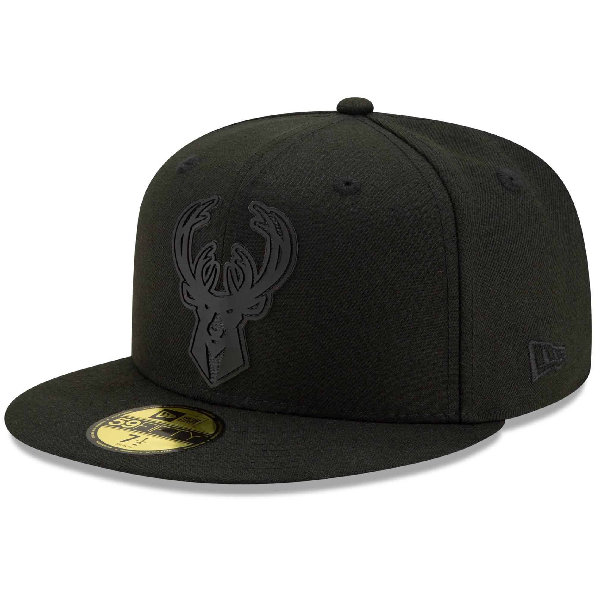 Milwaukee Bucks New Era Back Half 59FIFTY Fitted Hat - Black