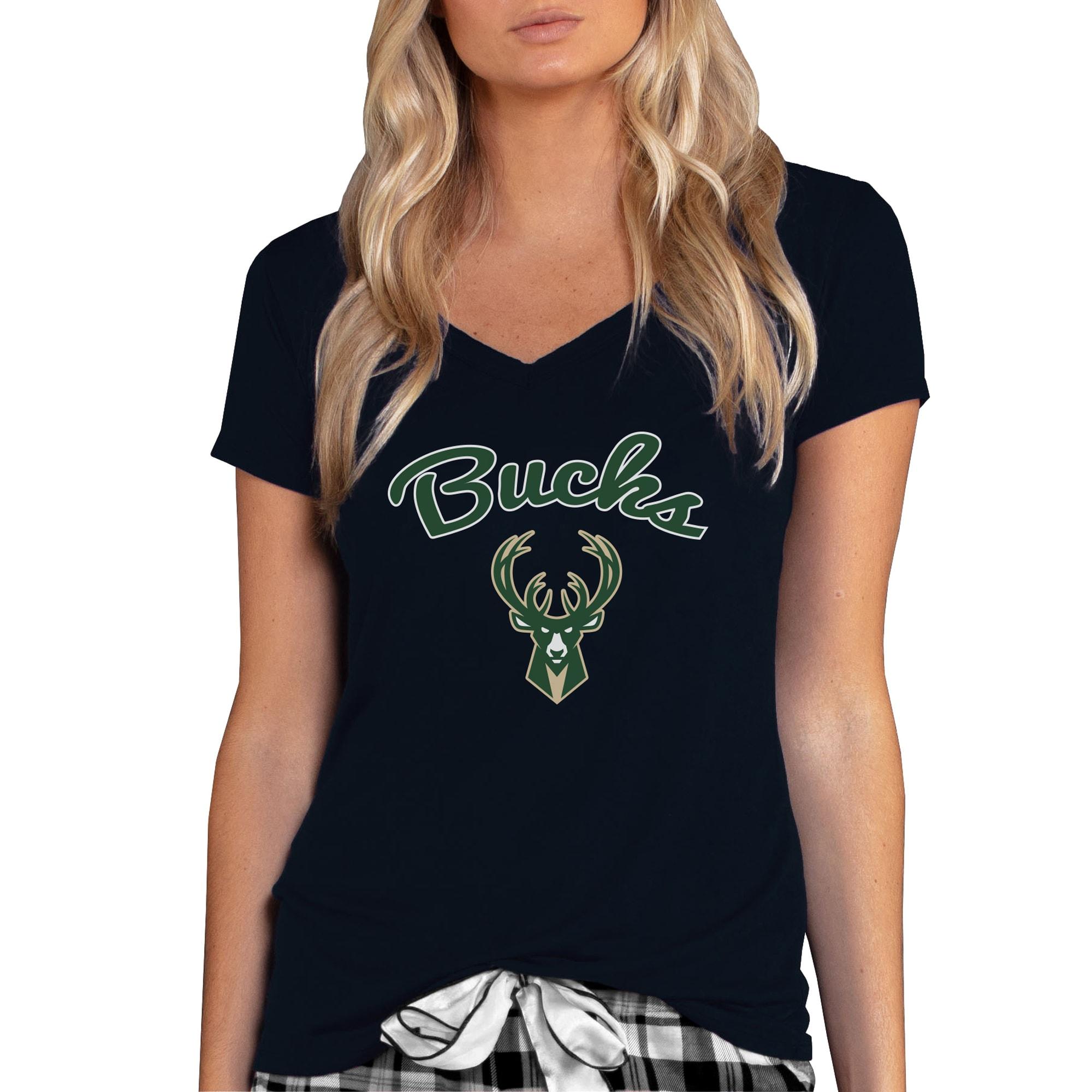 Milwaukee Bucks Concepts Sport Women's Marathon V-Neck T-Shirt - Black