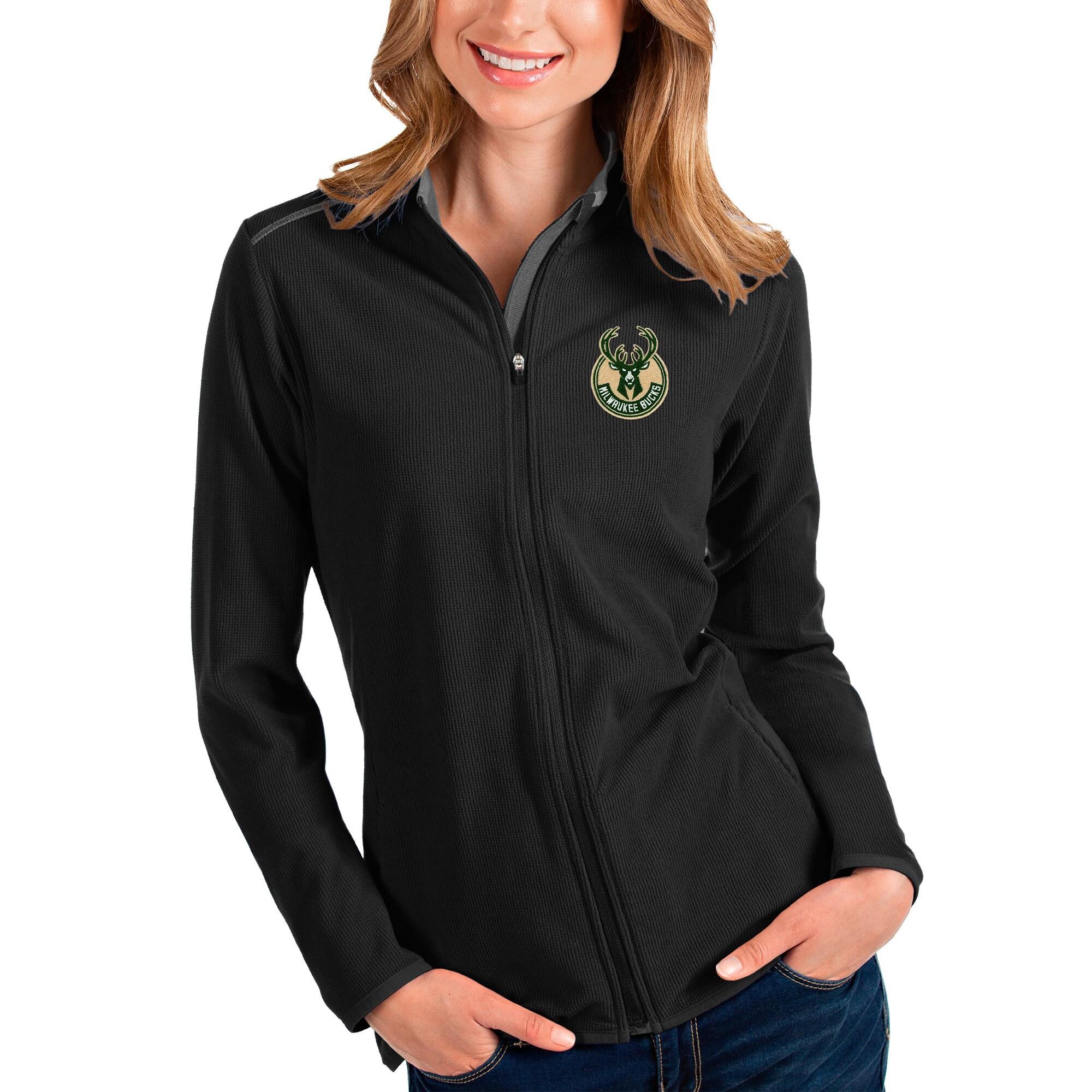 Milwaukee Bucks Antigua Women's Glacier Full-Zip Jacket - Black/Gray