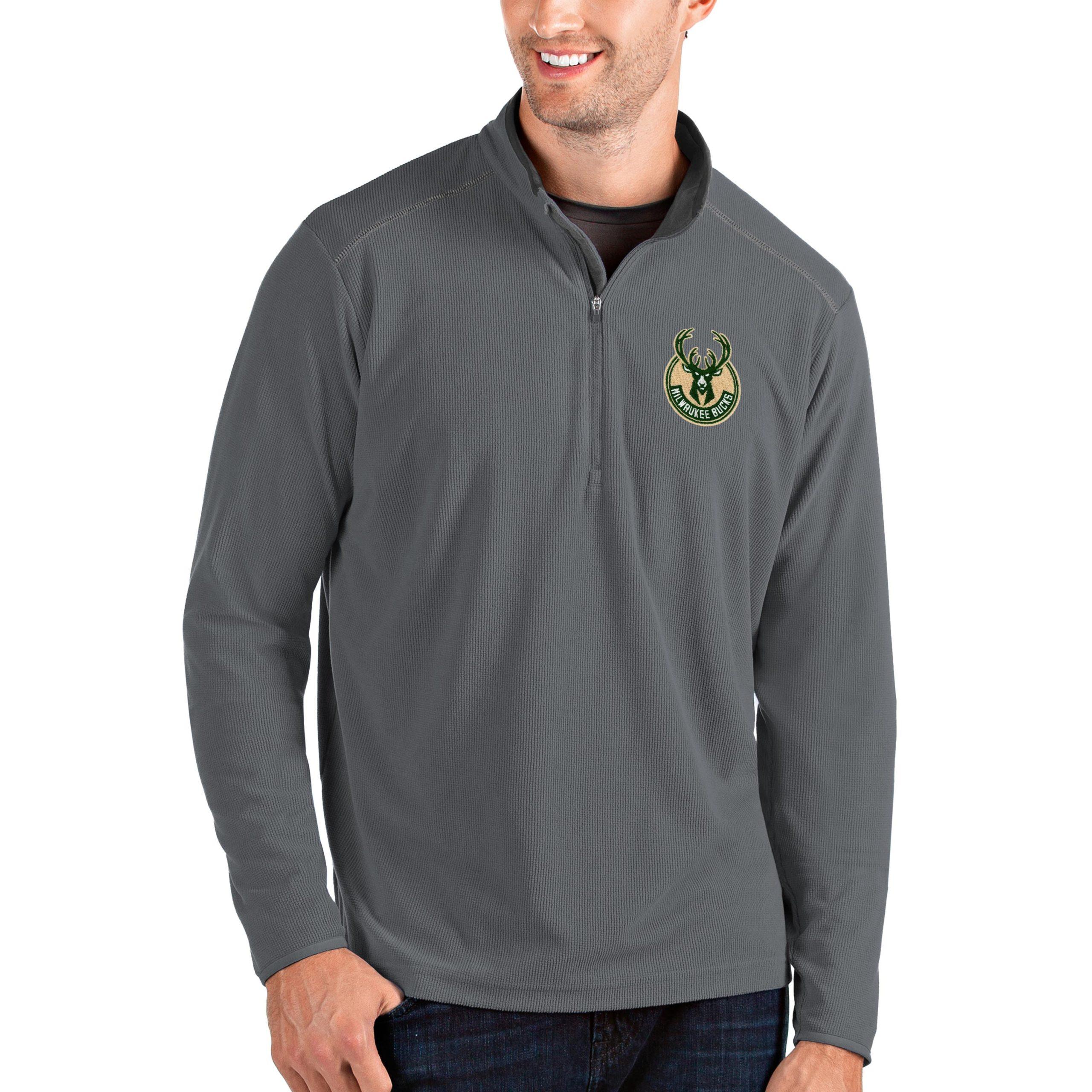 Milwaukee Bucks Antigua Big & Tall Glacier Quarter-Zip Pullover Jacket - Gray/Gray