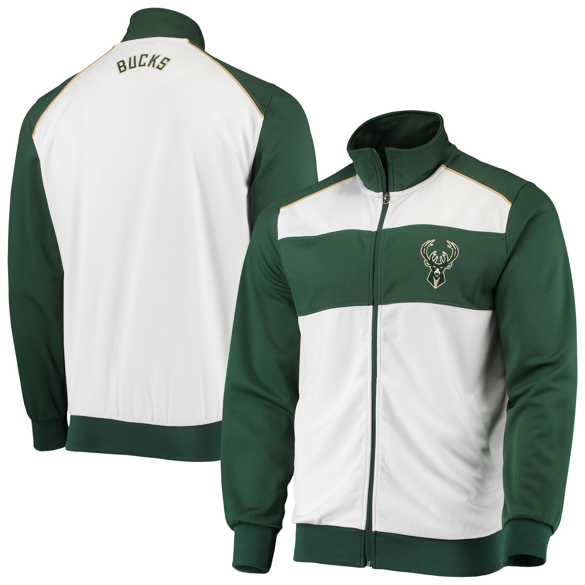 Milwaukee Bucks G-III Sports by Carl Banks Layup Full-Zip Track Jacket - White/Hunter Green