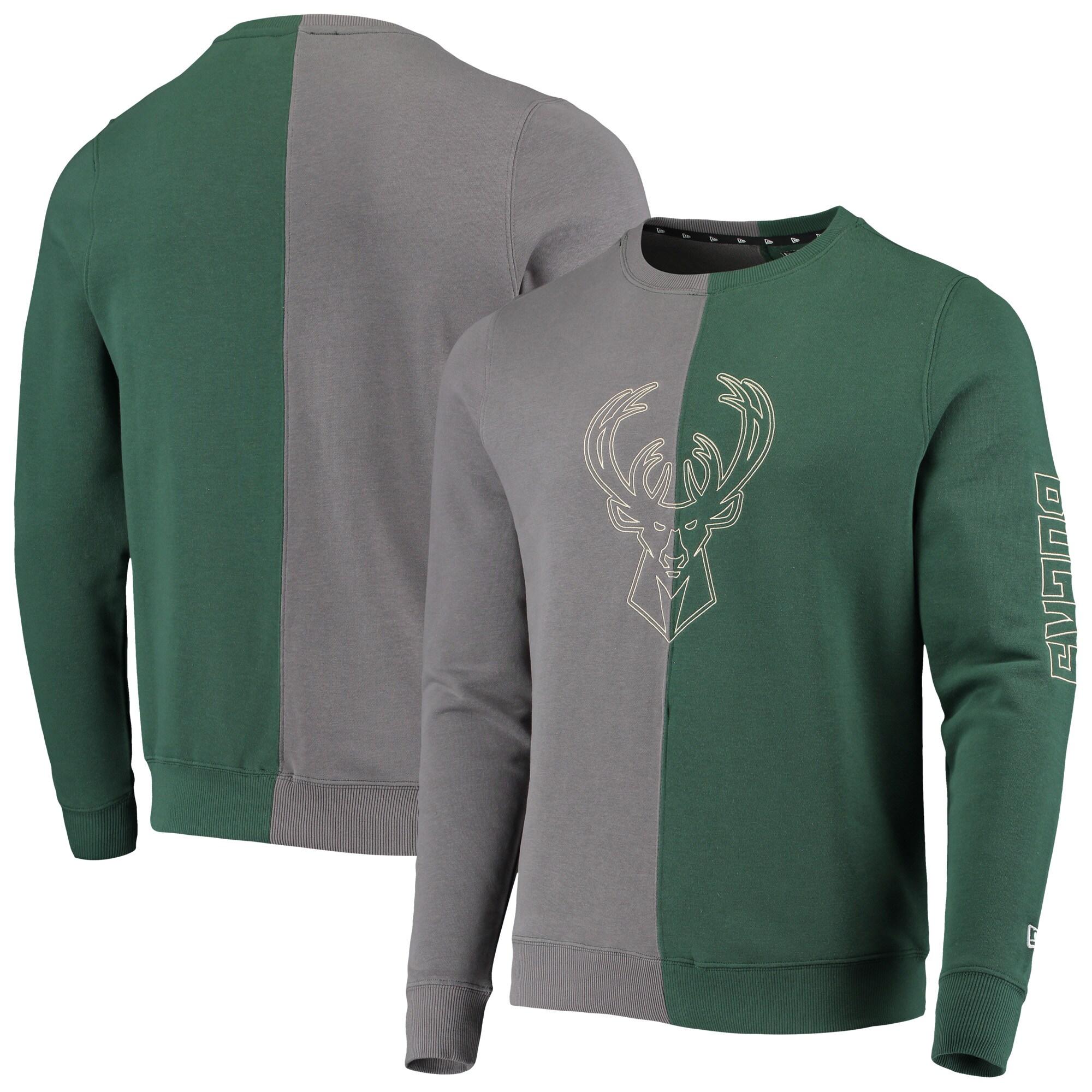 Milwaukee Bucks New Era Diagonal French Terry Color Block Pullover Sweatshirt - Gray/Hunter Green