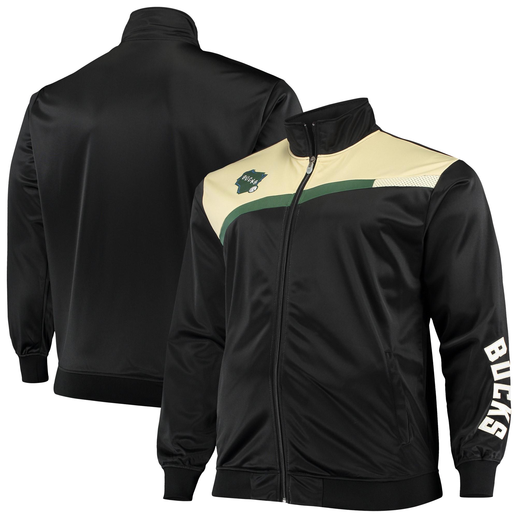Milwaukee Bucks Big & Tall Showtime Tricot Full-Zip Track Jacket - Black/Cream