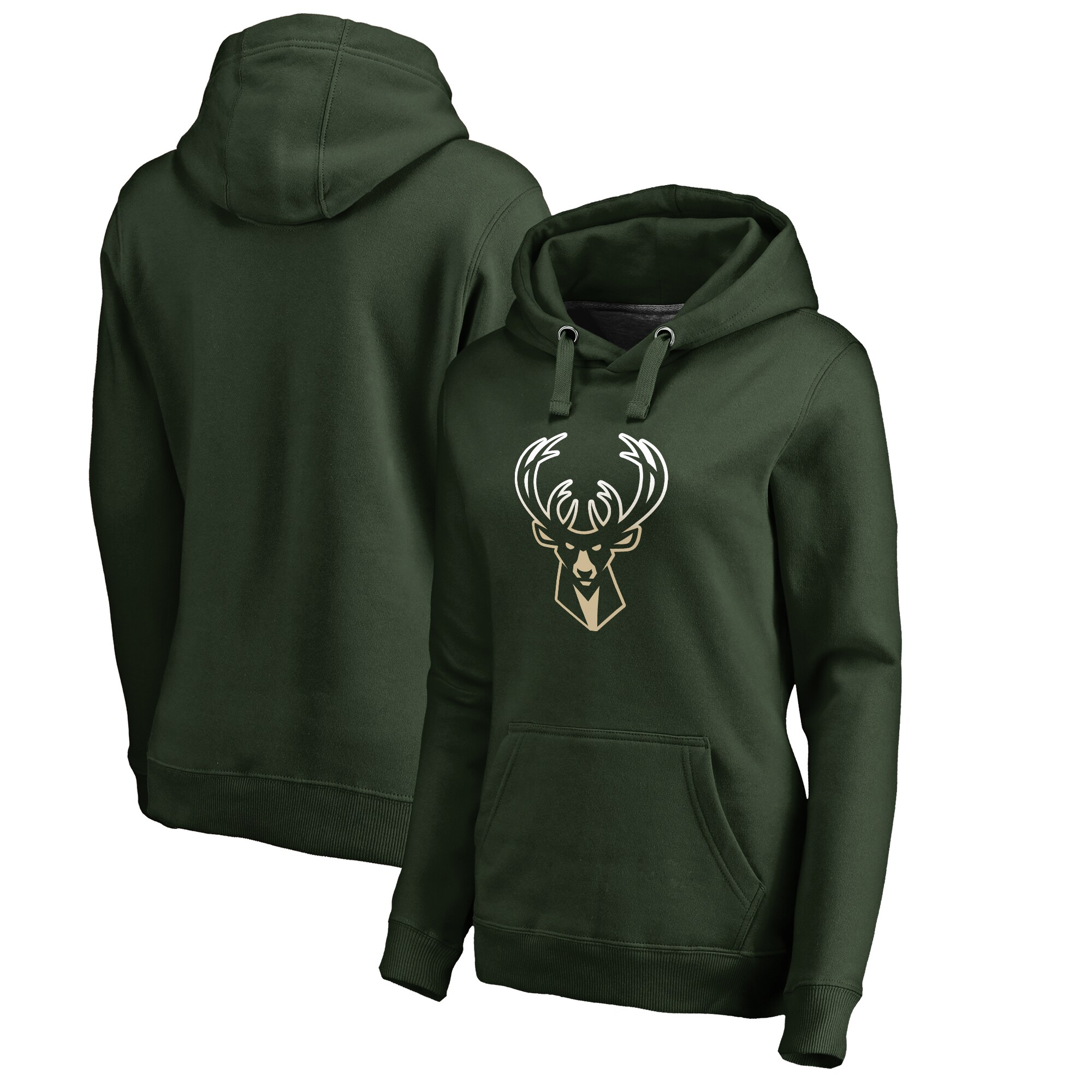 Milwaukee Bucks Fanatics Branded Women's Plus Sizes Gradient Logo Pullover Hoodie - Green