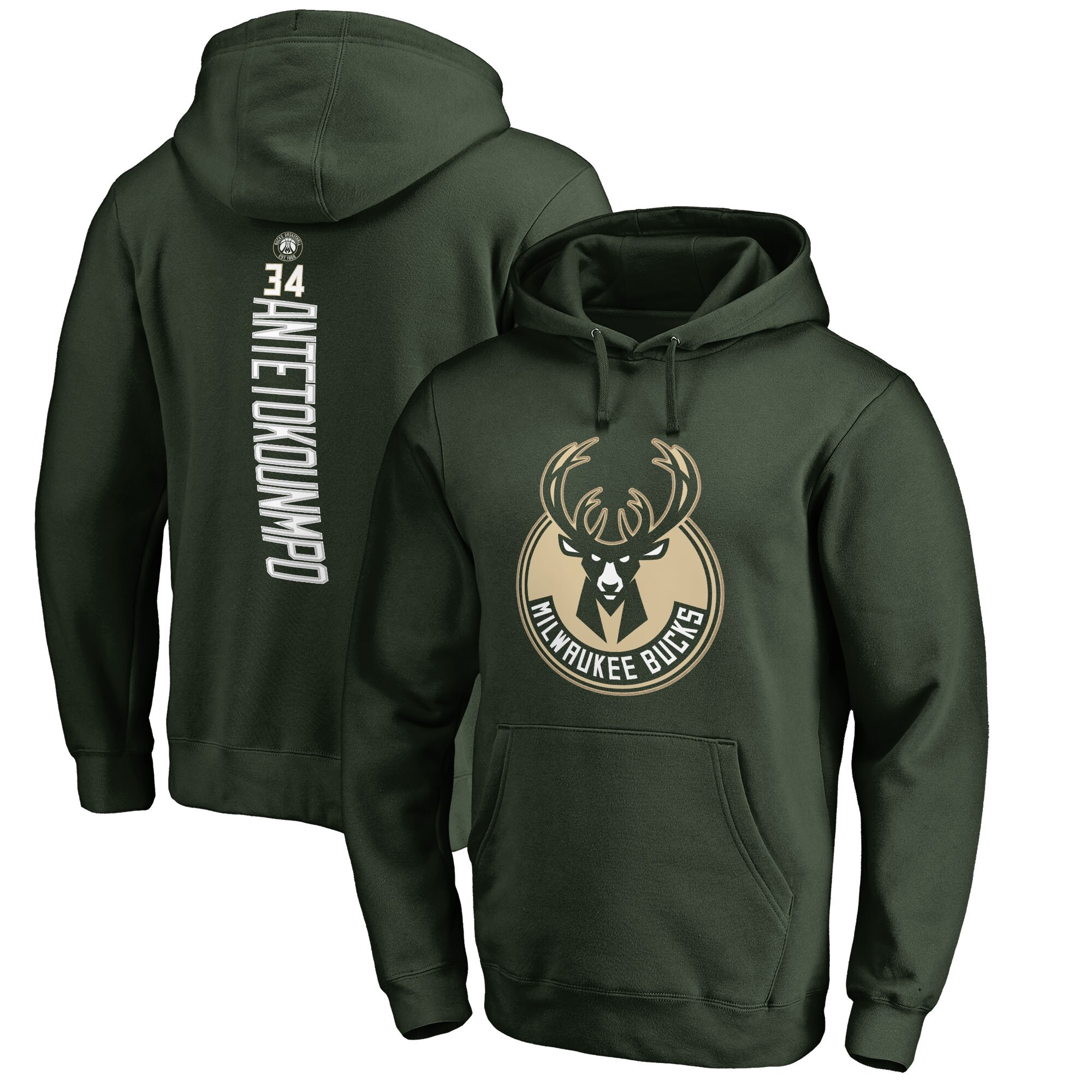 Giannis Antetokounmpo Milwaukee Bucks Fanatics Branded Backer Name & Number Pullover Hoodie - Hunter Green