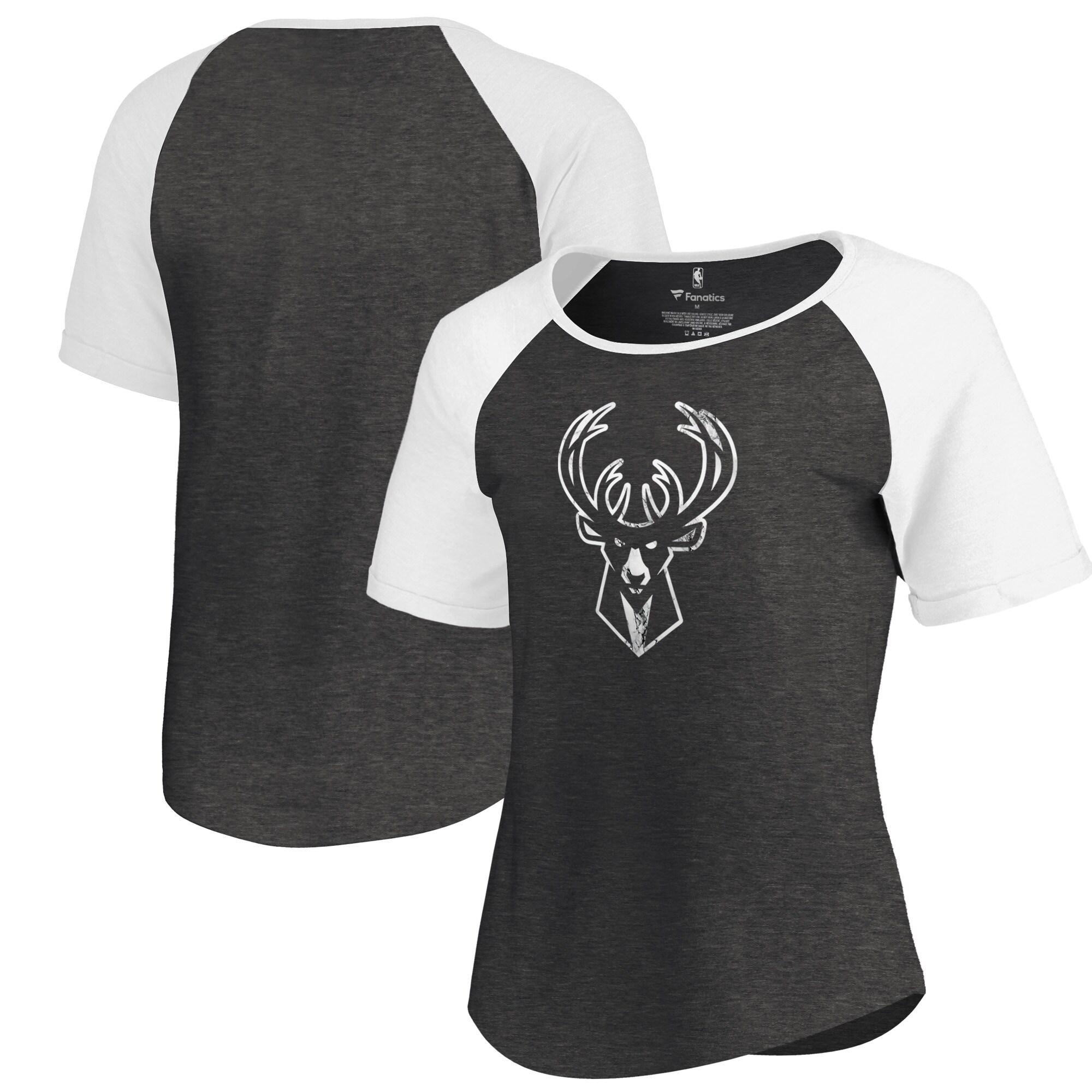 Milwaukee Bucks Fanatics Branded Women's Marble Logo Raglan T-Shirt - Black
