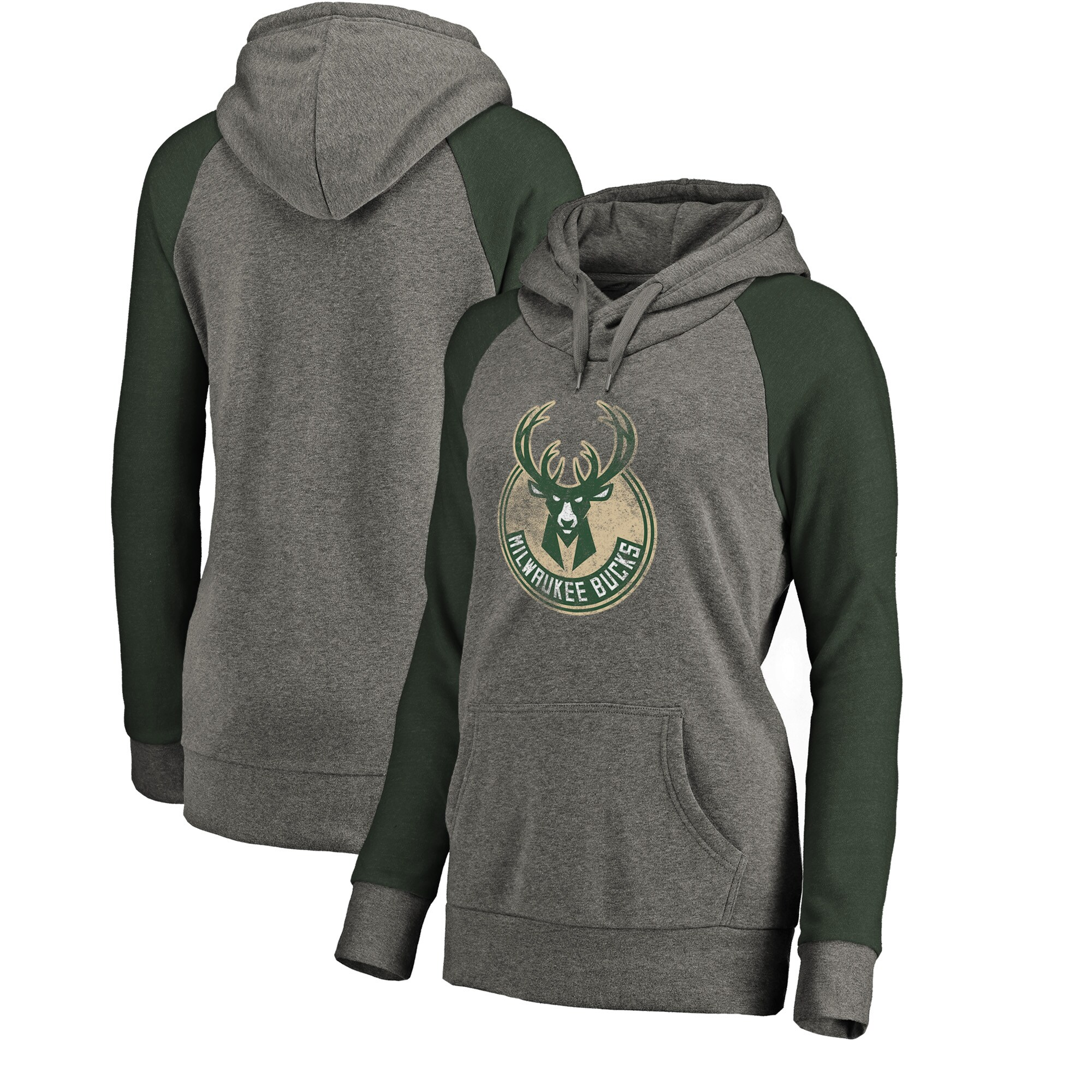 Milwaukee Bucks Fanatics Branded Women's Distressed Logo Tri-Blend Pullover Hoodie - Ash/Green