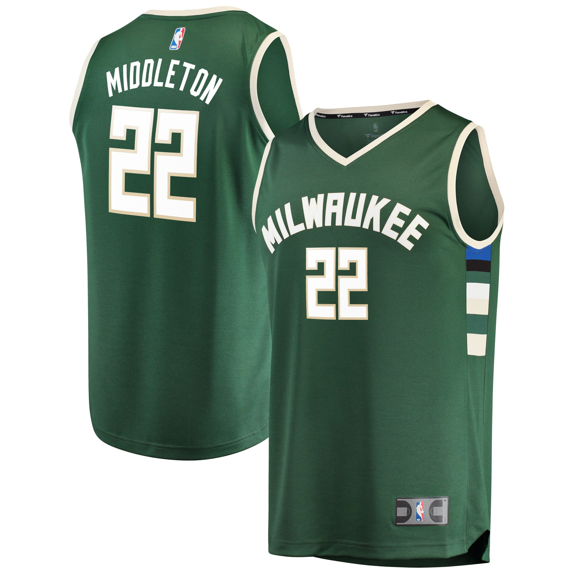 Khris Middleton Milwaukee Bucks Fanatics Branded Fast Break Road Replica Player Jersey Green - Icon Edition
