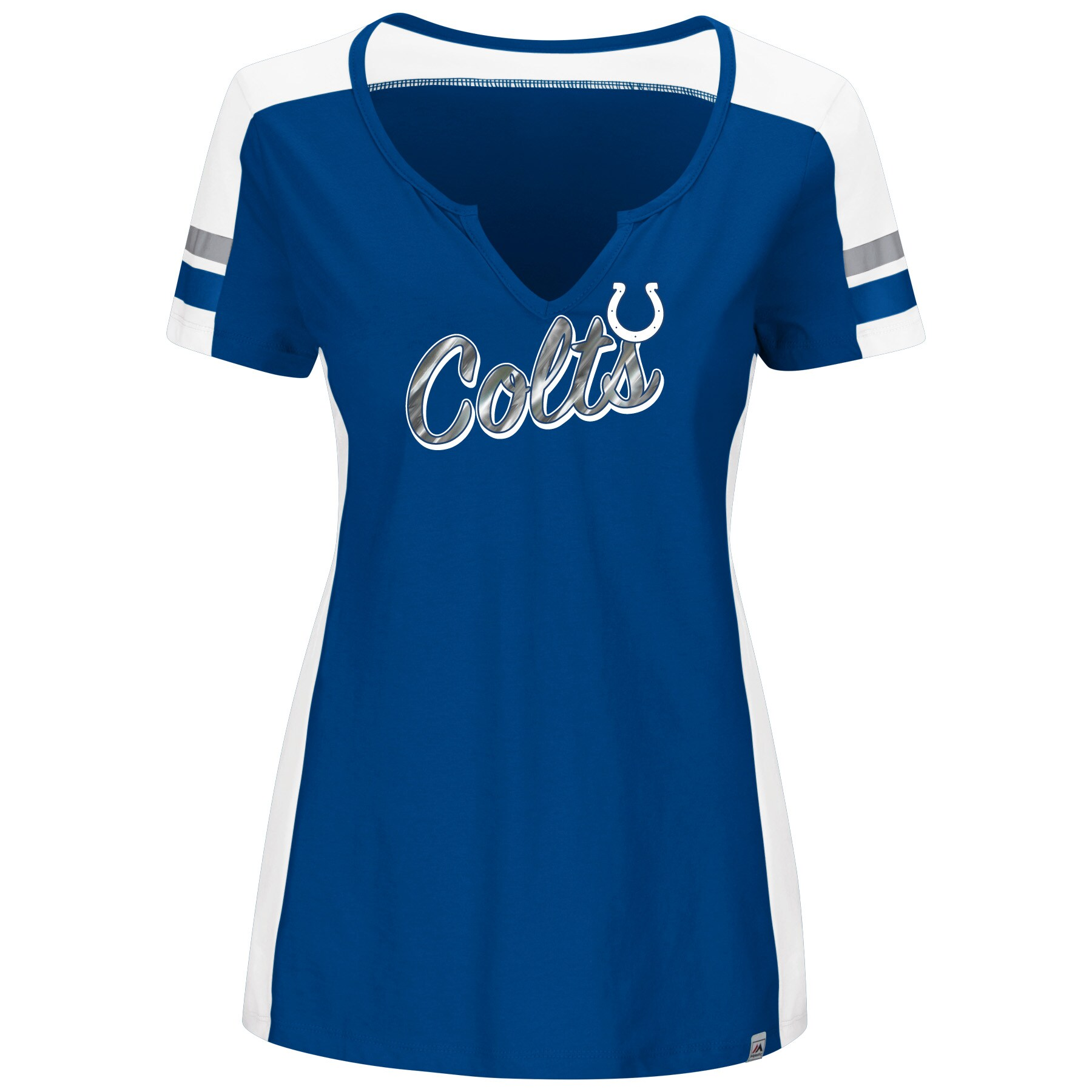 Indianapolis Colts Majestic Women's Pride Playing Notch Neck T-Shirt - Royal/White