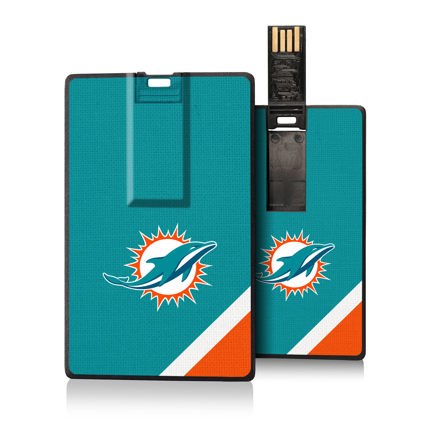 Miami Dolphins Diagonal Stripe Credit Card USB Drive