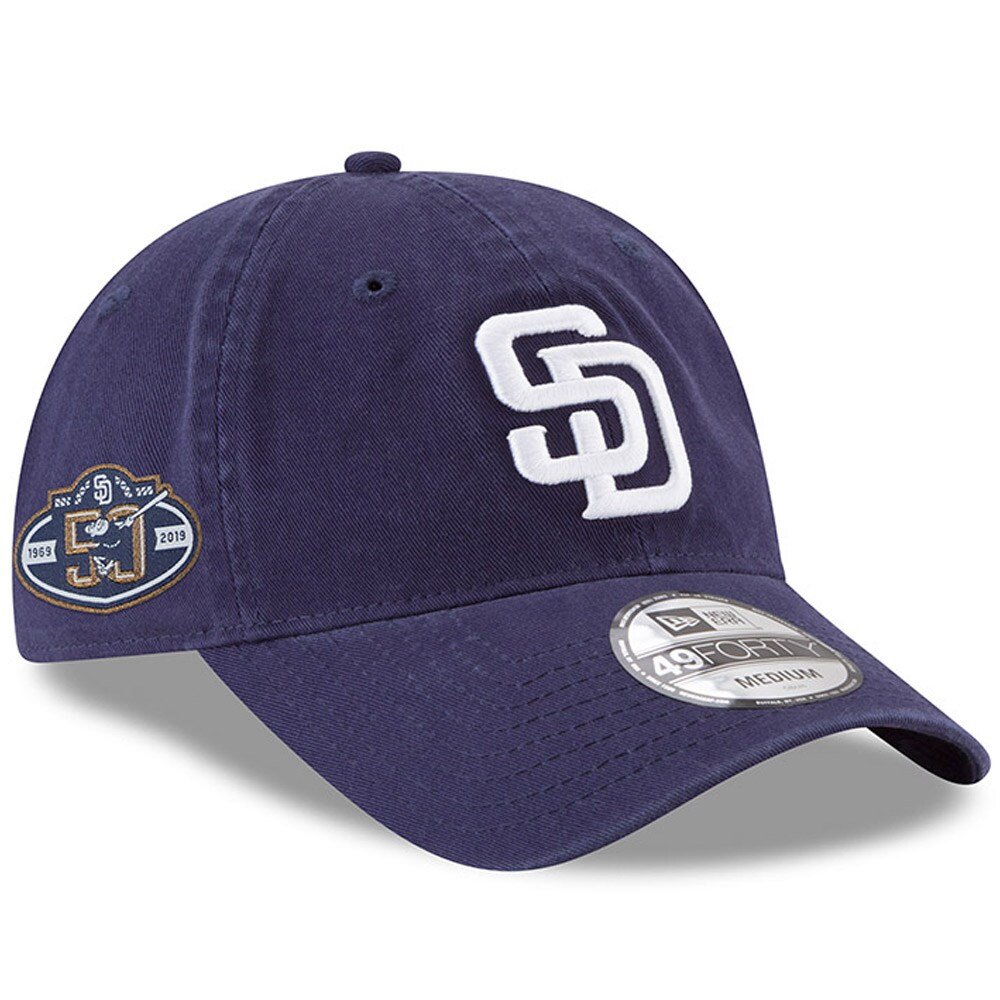 San Diego Padres New Era 50th Anniversary Core Fit Replica 49FORTY Fitted Hat - Navy
