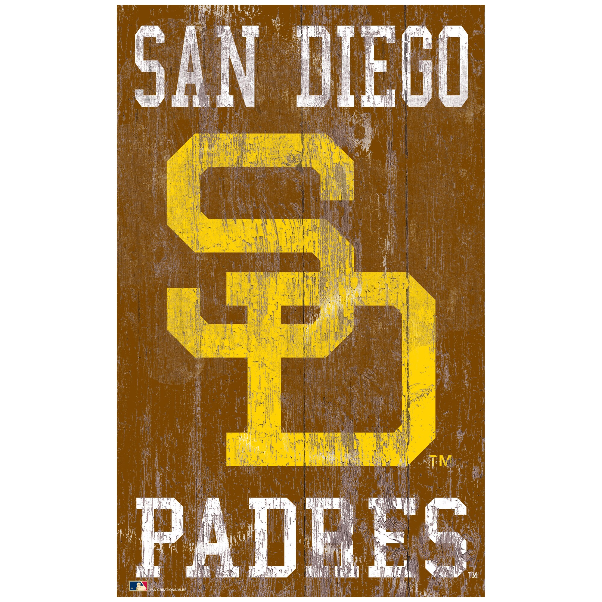 San Diego Padres 11'' x 19'' Heritage Distressed Logo Sign