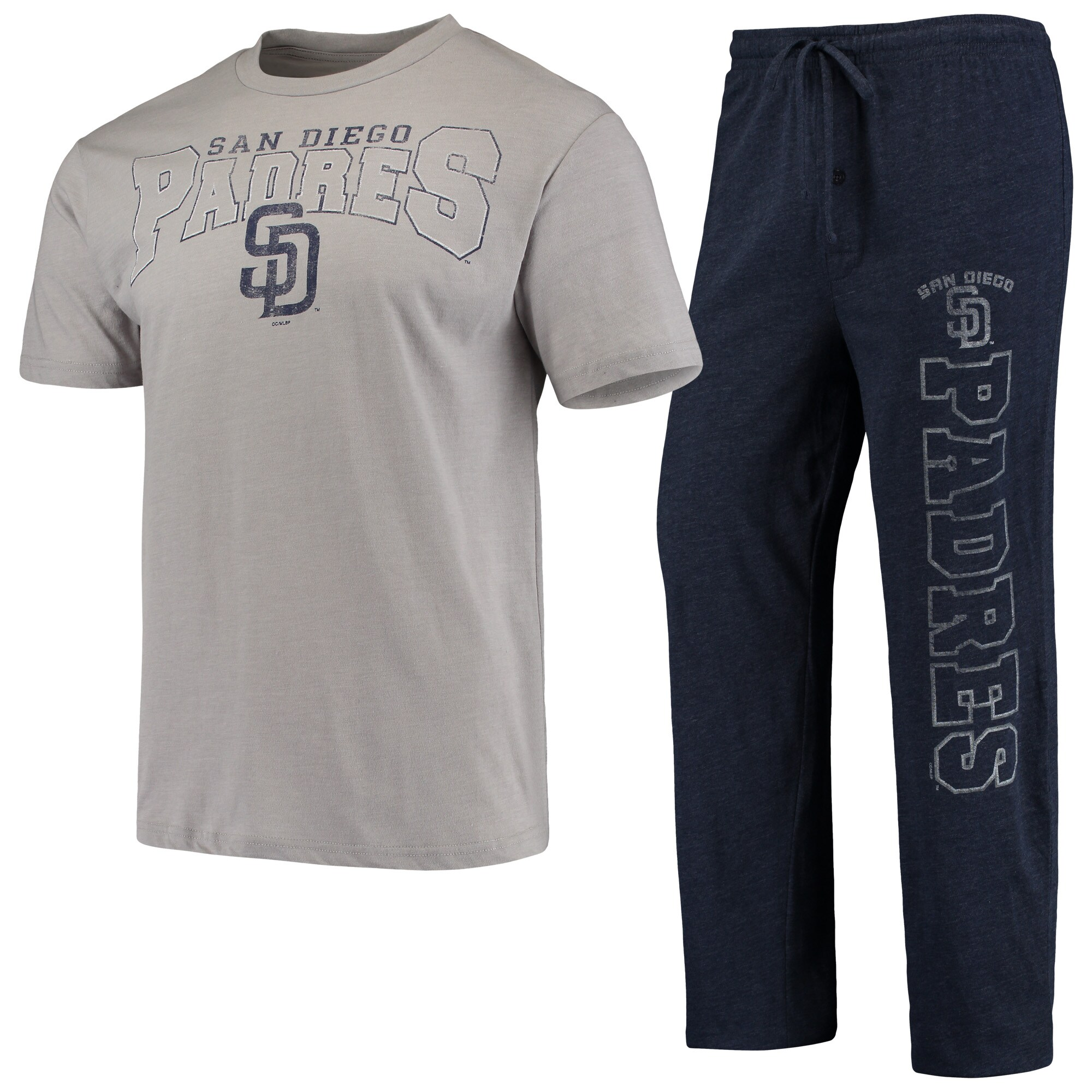 San Diego Padres Concepts Sport Topic T-Shirt & Pants Sleep Set - Heathered Gray/Navy