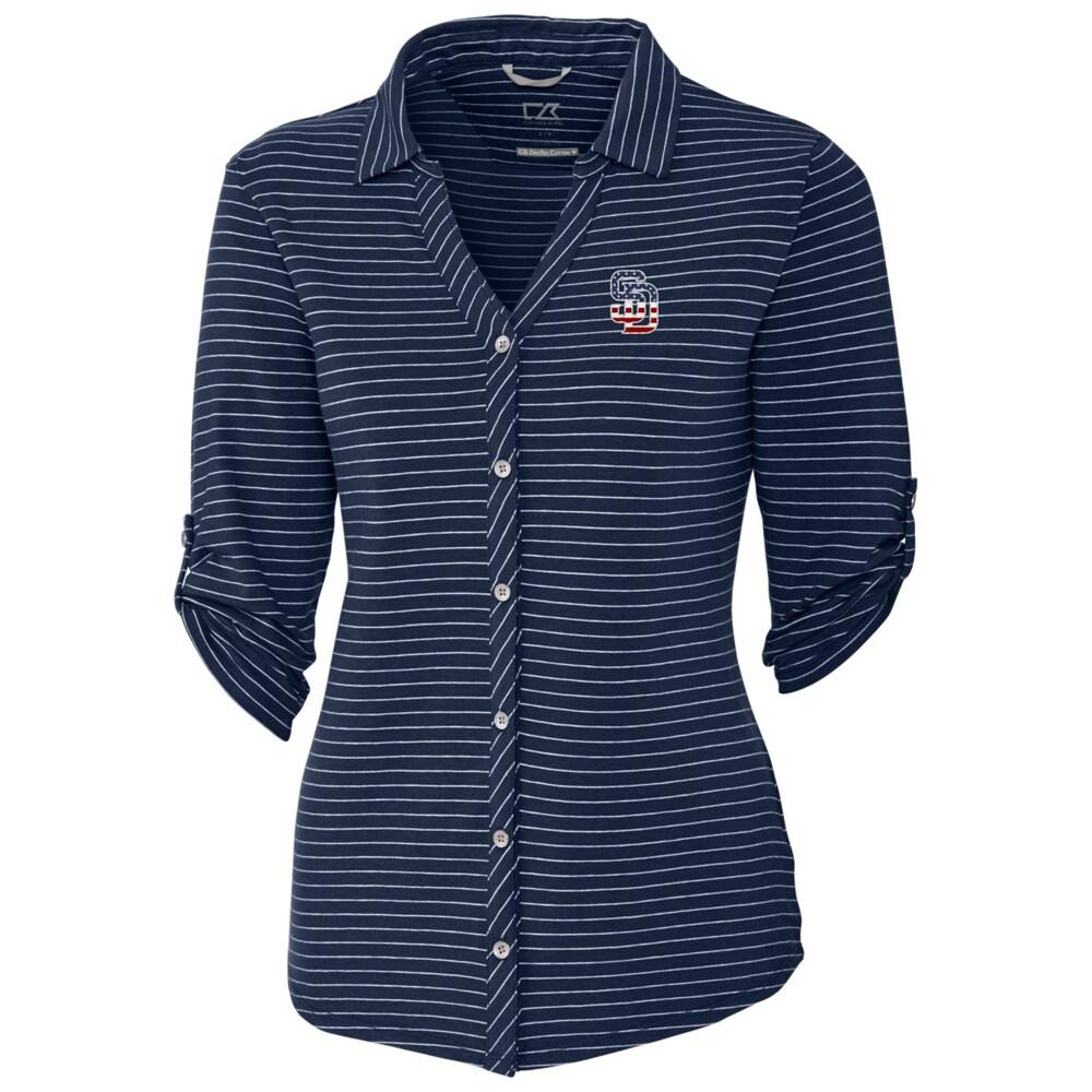San Diego Padres Cutter & Buck Women's Academy Stripe 3/4 Sleeve Button-Up Shirt - Navy