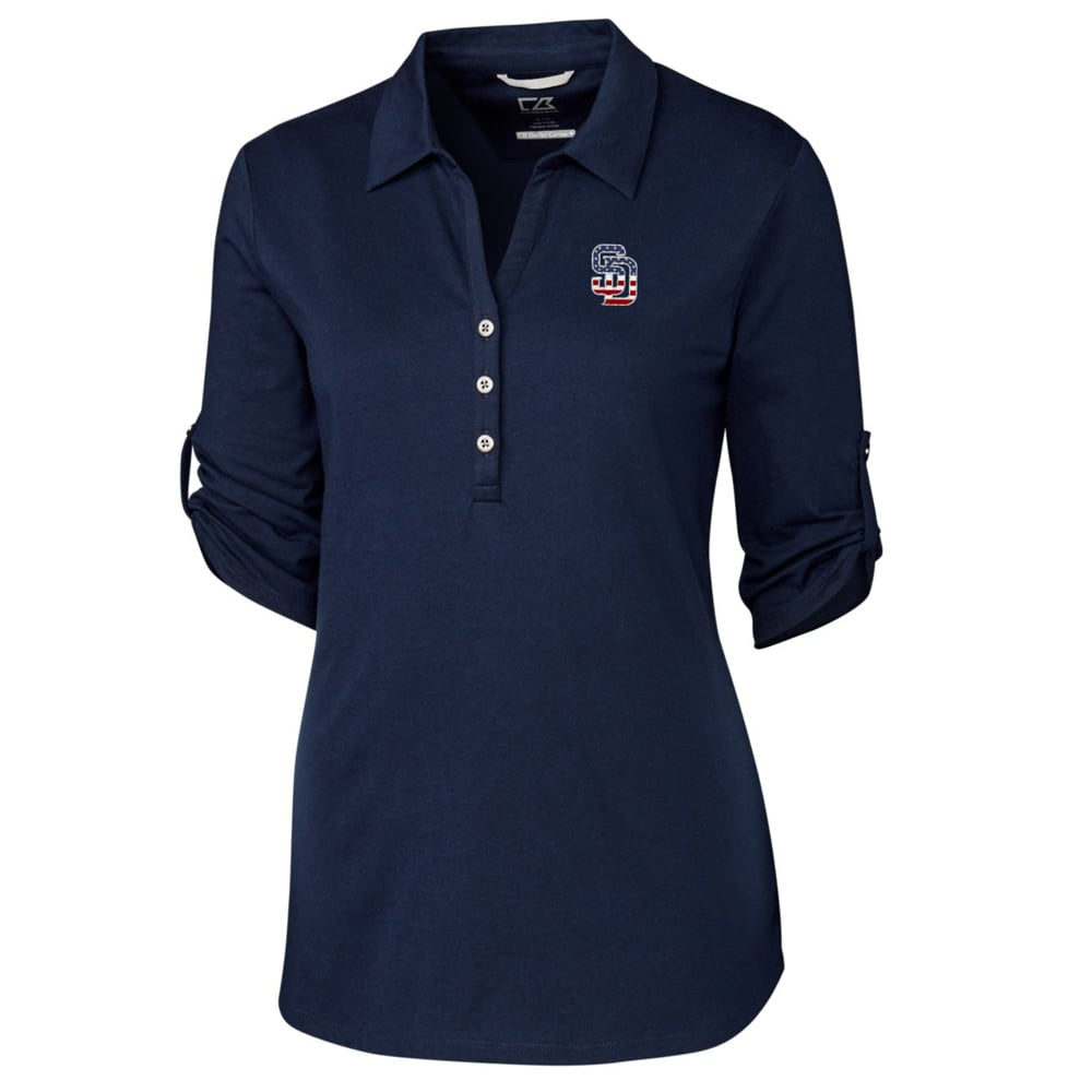 San Diego Padres Cutter & Buck Women's Thrive 3/4 Sleeve Polo - Navy