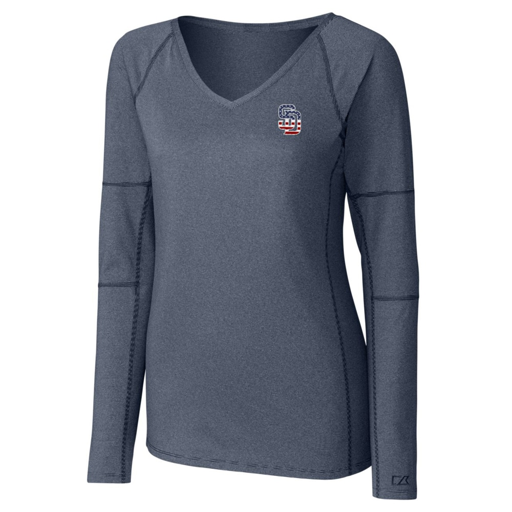 San Diego Padres Cutter & Buck Women's Victory Long Sleeve V-Neck Shirt - Navy