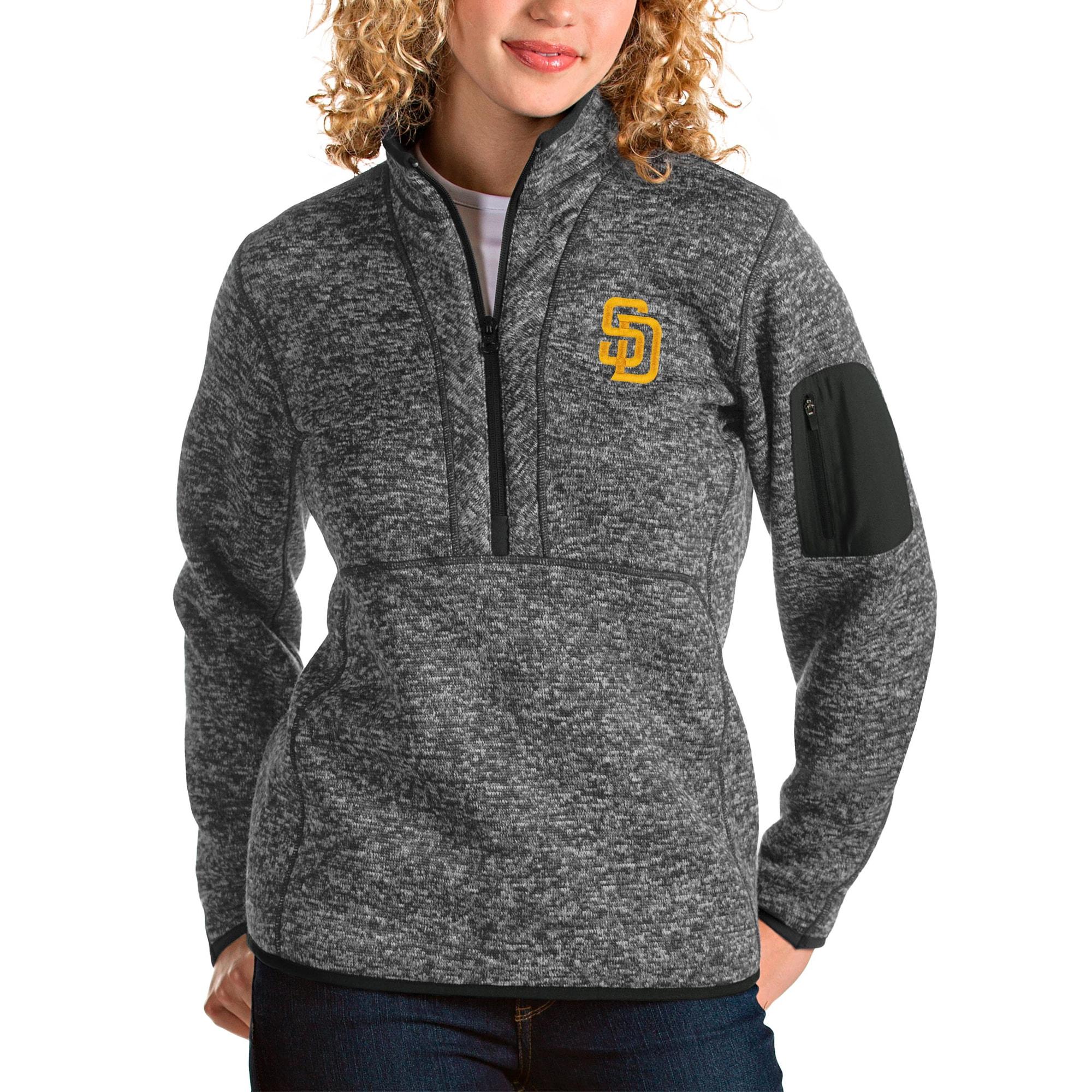 San Diego Padres Antigua Women's Fortune Half-Zip Pullover Jacket - Heather Charcoal