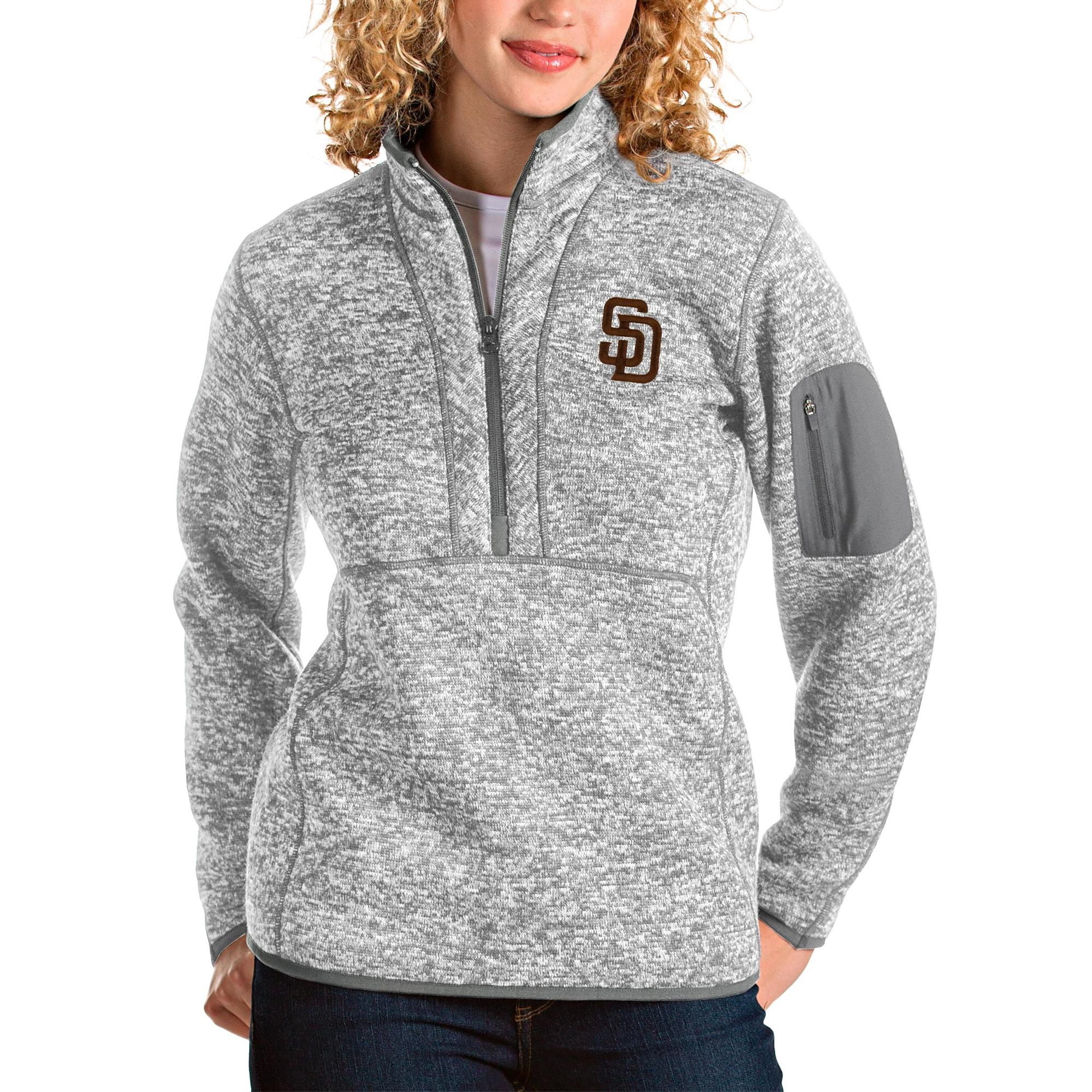 San Diego Padres Antigua Women's Fortune Half-Zip Pullover Jacket - Heather Gray