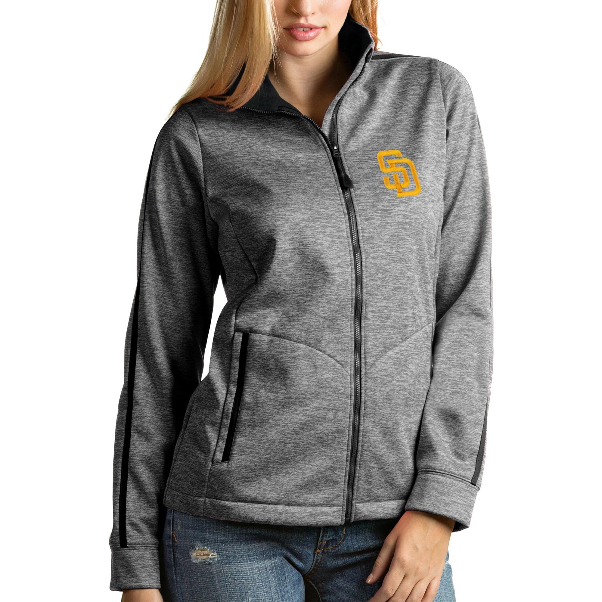 San Diego Padres Antigua Women's Full-Zip Golf Jacket - Heather Black