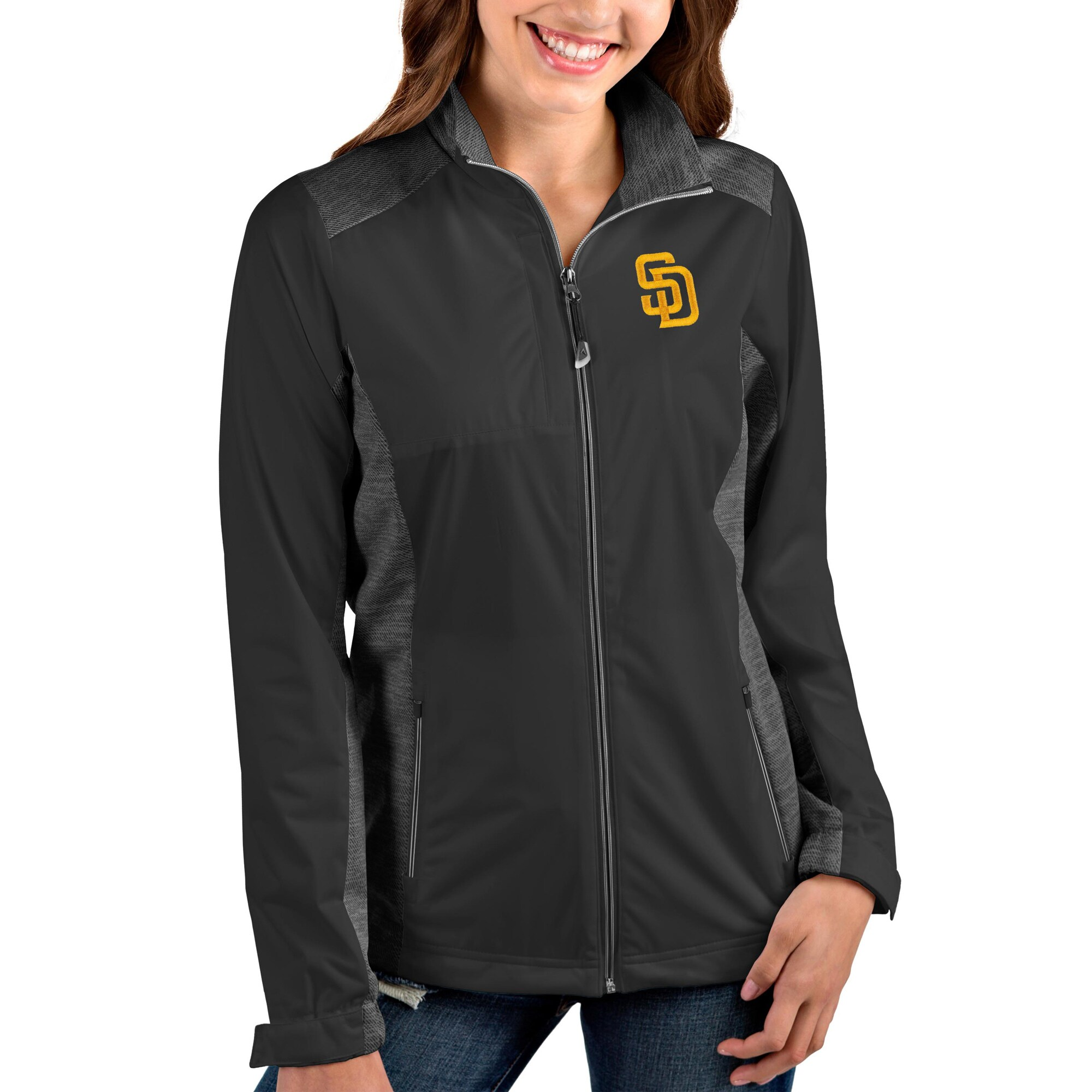 San Diego Padres Antigua Women's Team Revolve Full-Zip Jacket - Charcoal