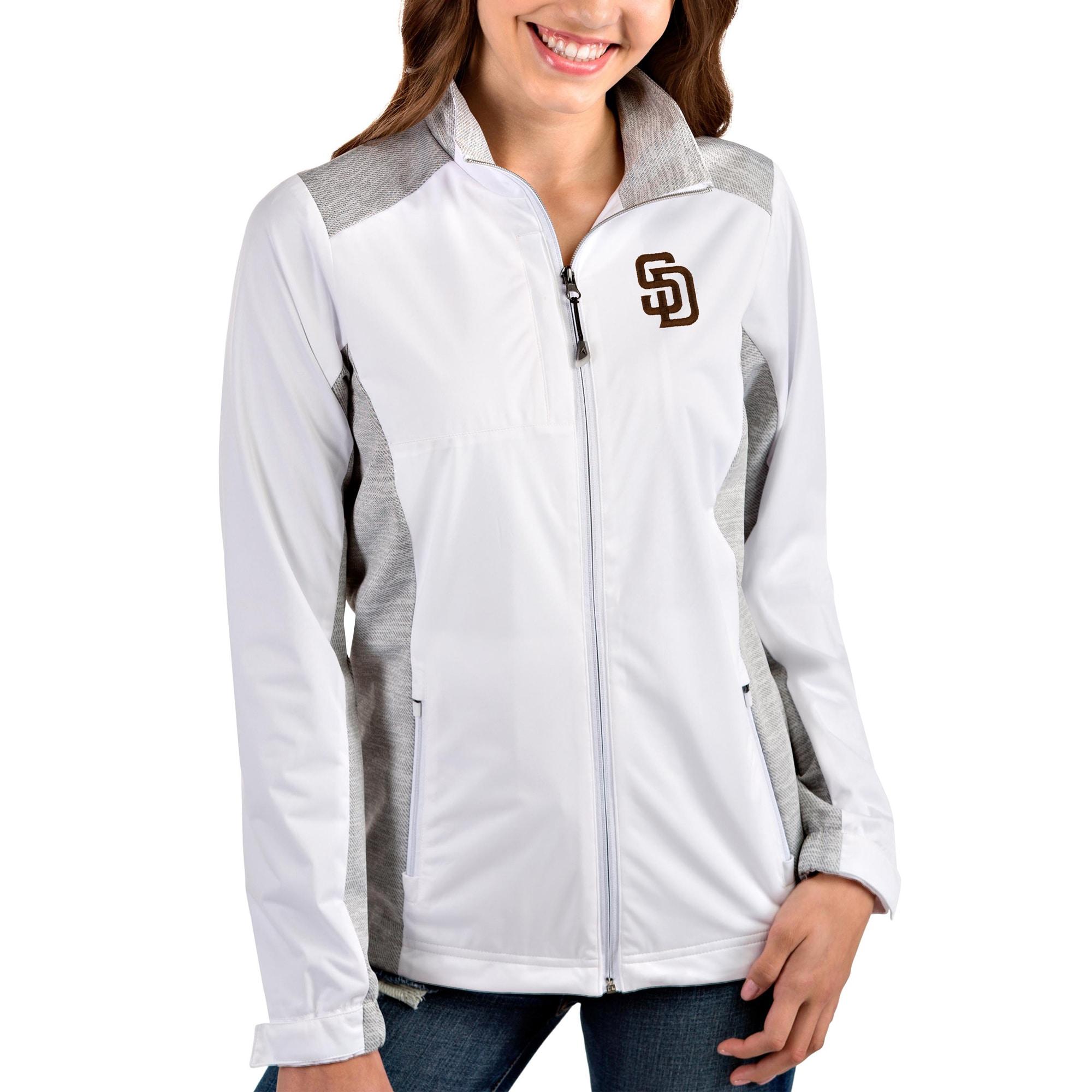 San Diego Padres Antigua Women's Team Revolve Full-Zip Jacket - White