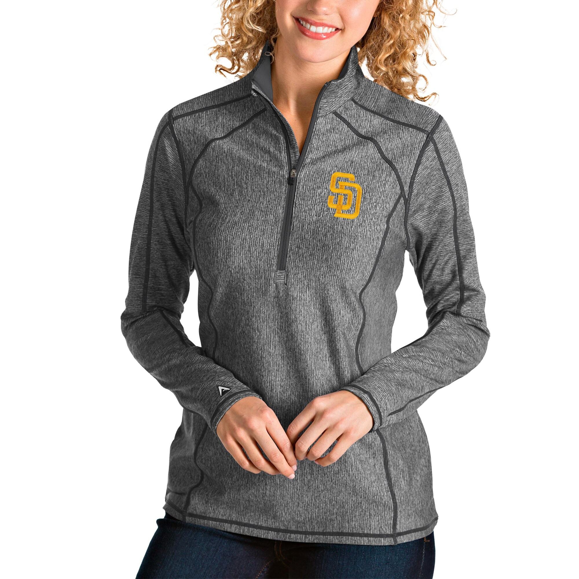 San Diego Padres Antigua Women's Tempo Quarter-Zip Pullover Jacket - Heather Charcoal
